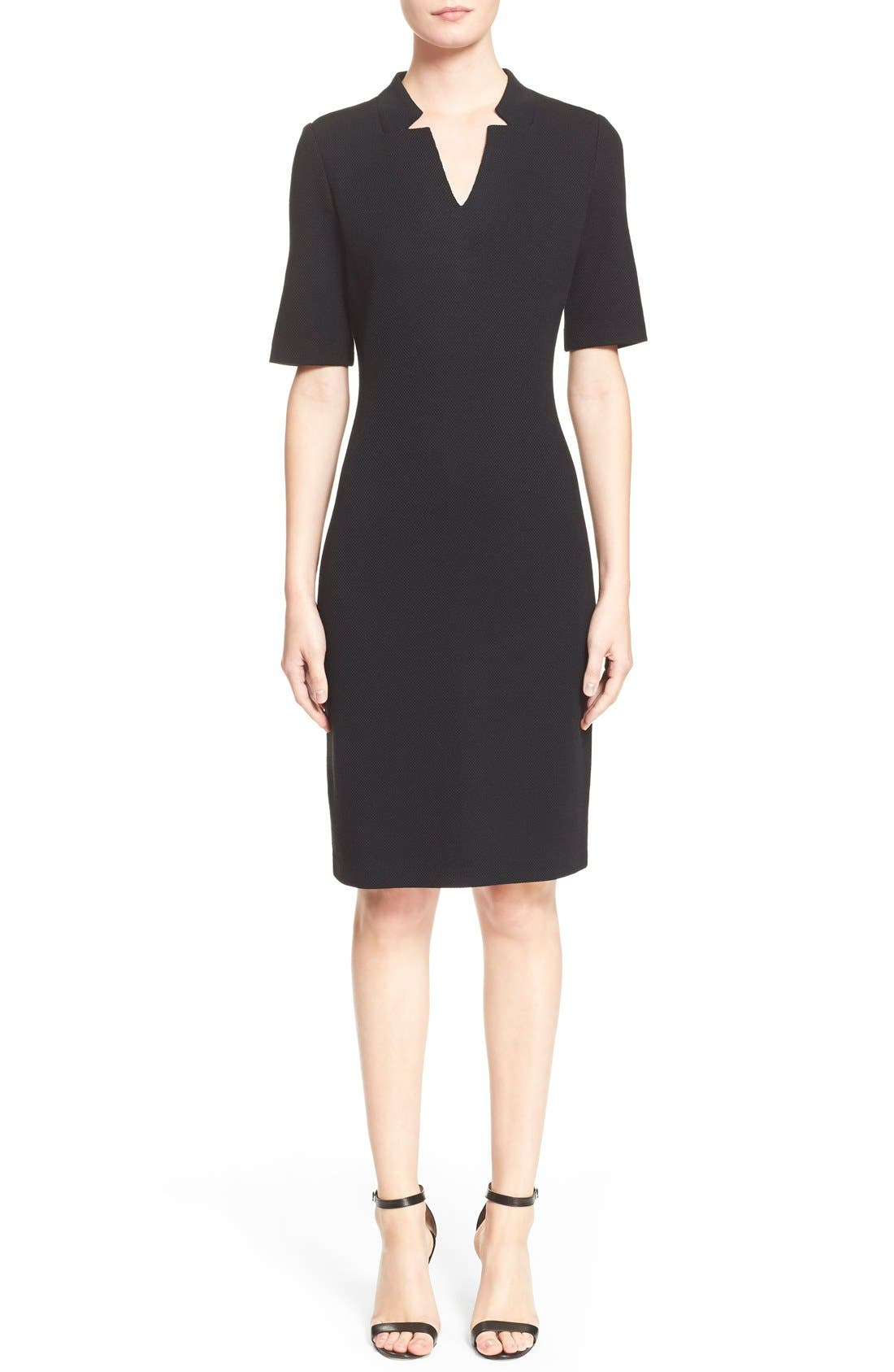 St. John Collection Elbow Sleeve Piqué Milano Knit Dress