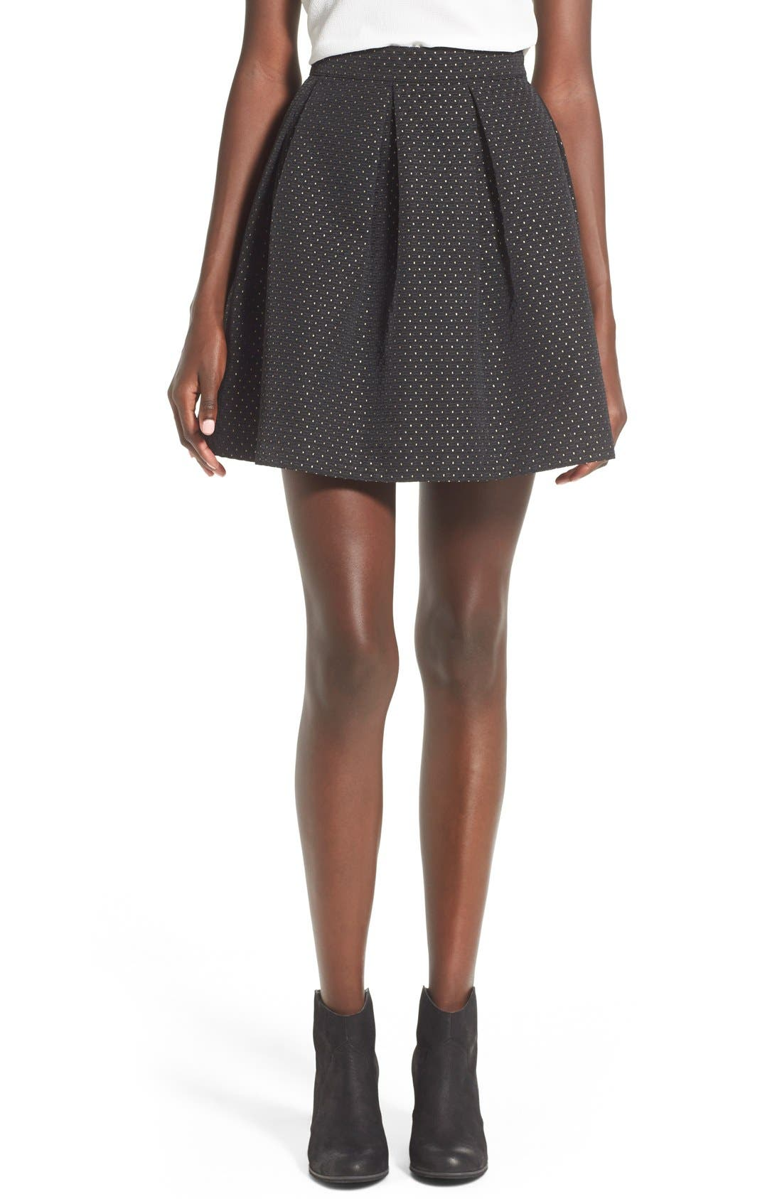 Main Image - Soprano Metallic Dot Textured Skater Skirt