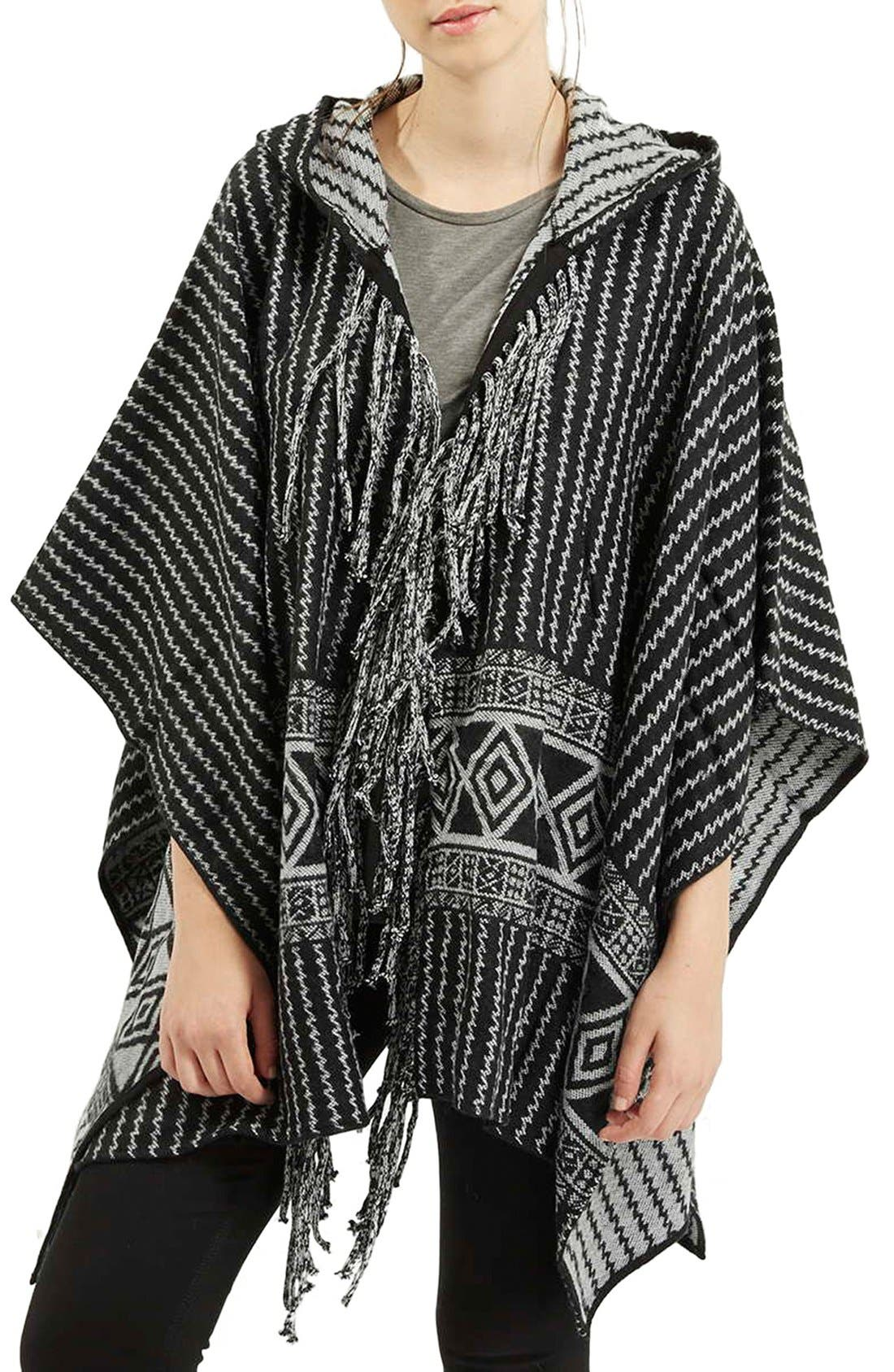 Main Image - Topshop Tassel Hooded Poncho
