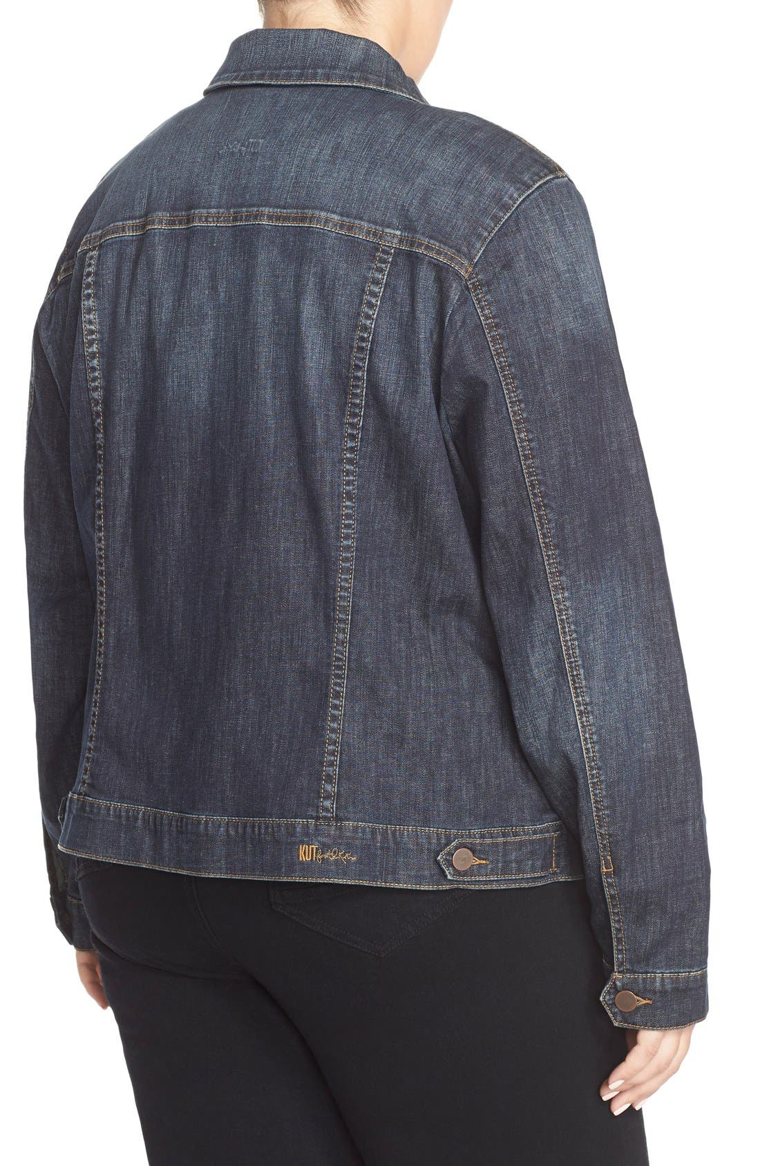 Alternate Image 2  - KUT from the Kloth Denim Jacket (Plus Size)