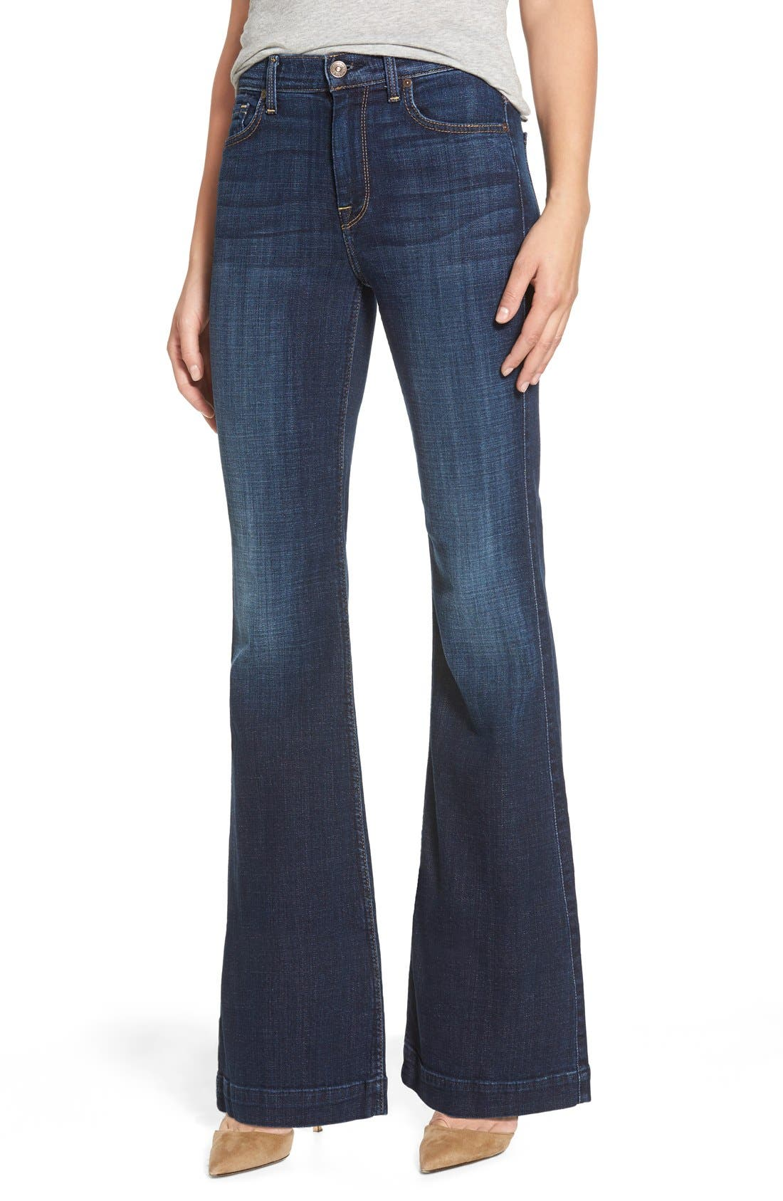 Alternate Image 1 Selected - 7 For All Mankind® 'Tailorless Ginger' High Rise Flare Jeans (Royal Broken Twill) (Short)