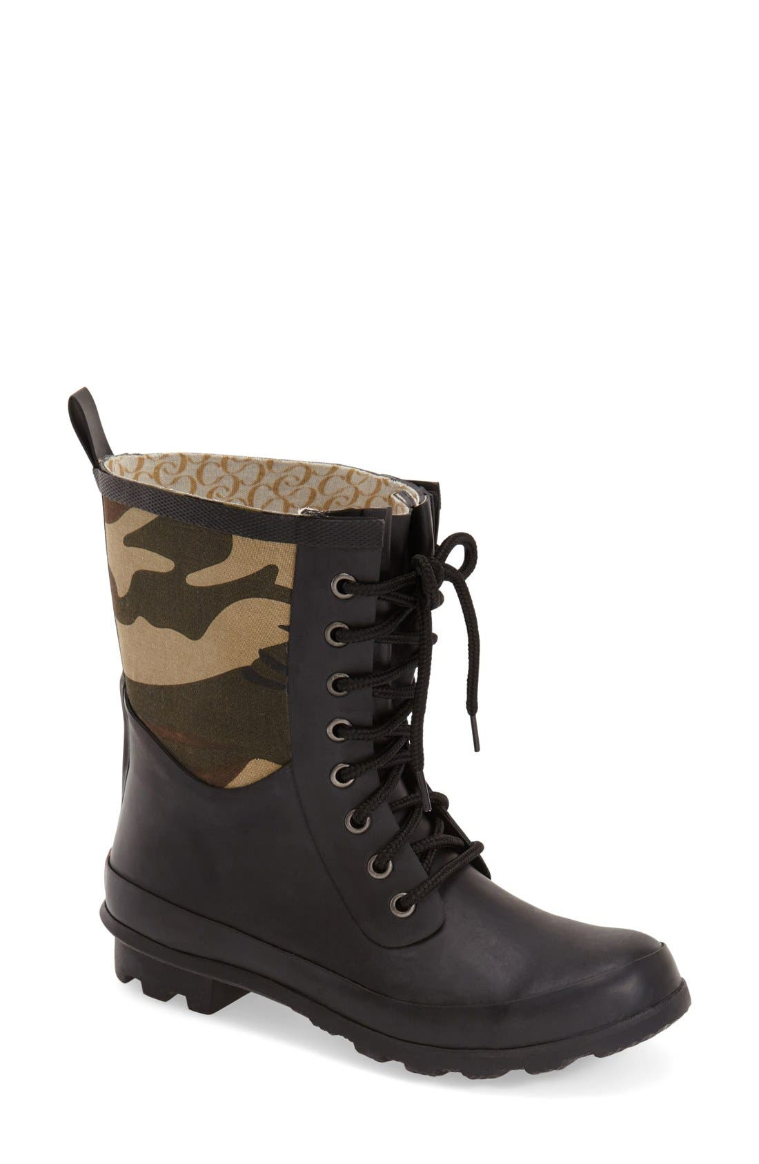 Alternate Image 1 Selected - Chooka 'Cara' Mid High Lace-Up Rain Boot (Women)