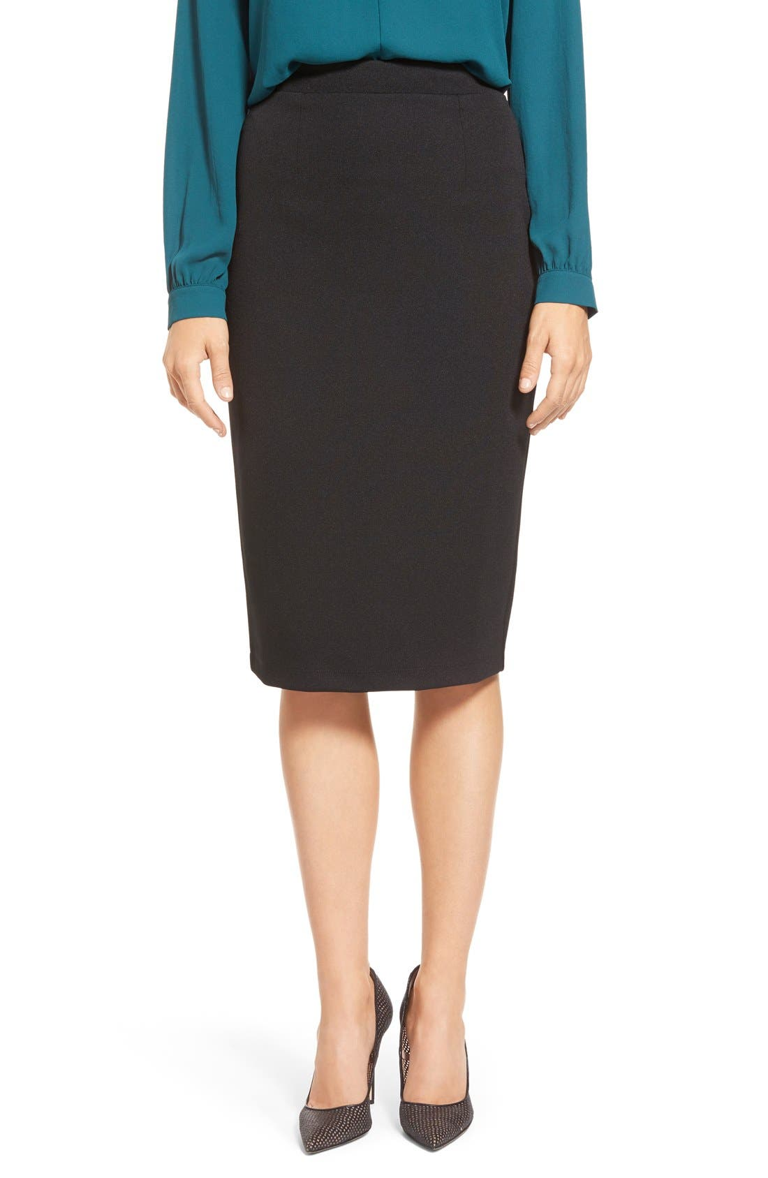 Alternate Image 1 Selected - Halogen® Zip Back Knit Pencil Skirt (Regular & Petite)