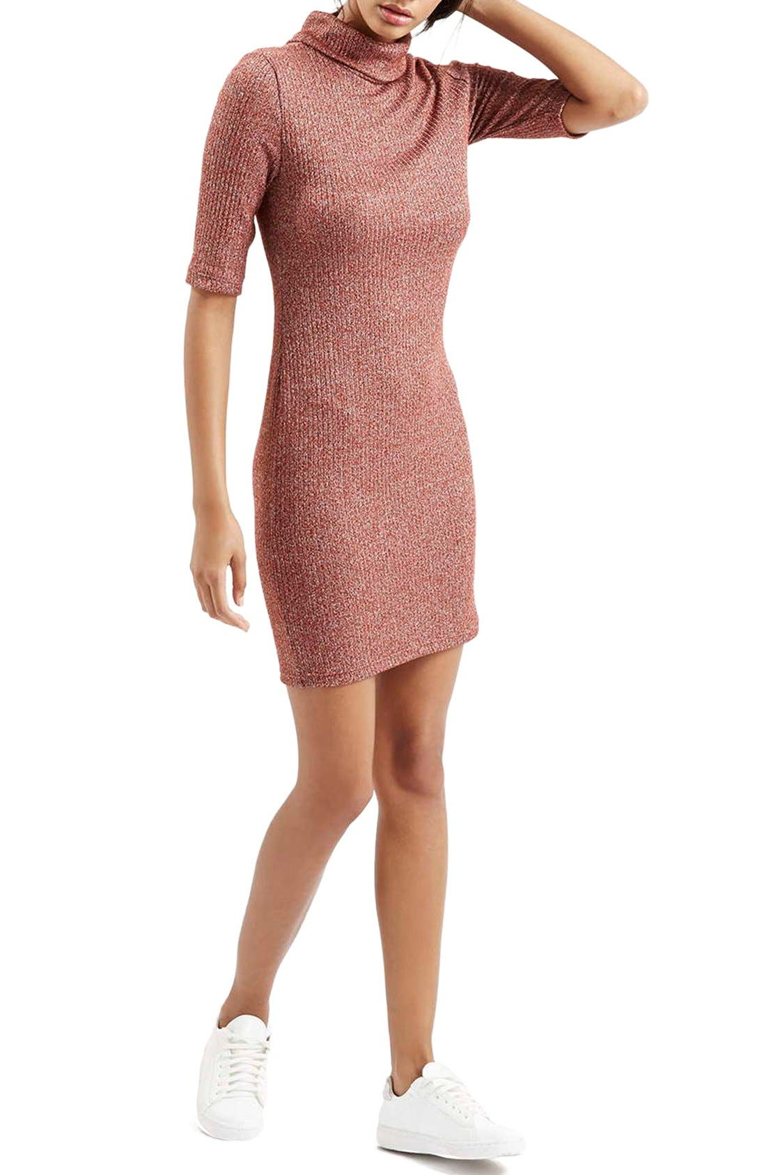 Alternate Image 2  - Topshop Ribbed Turtleneck Dress