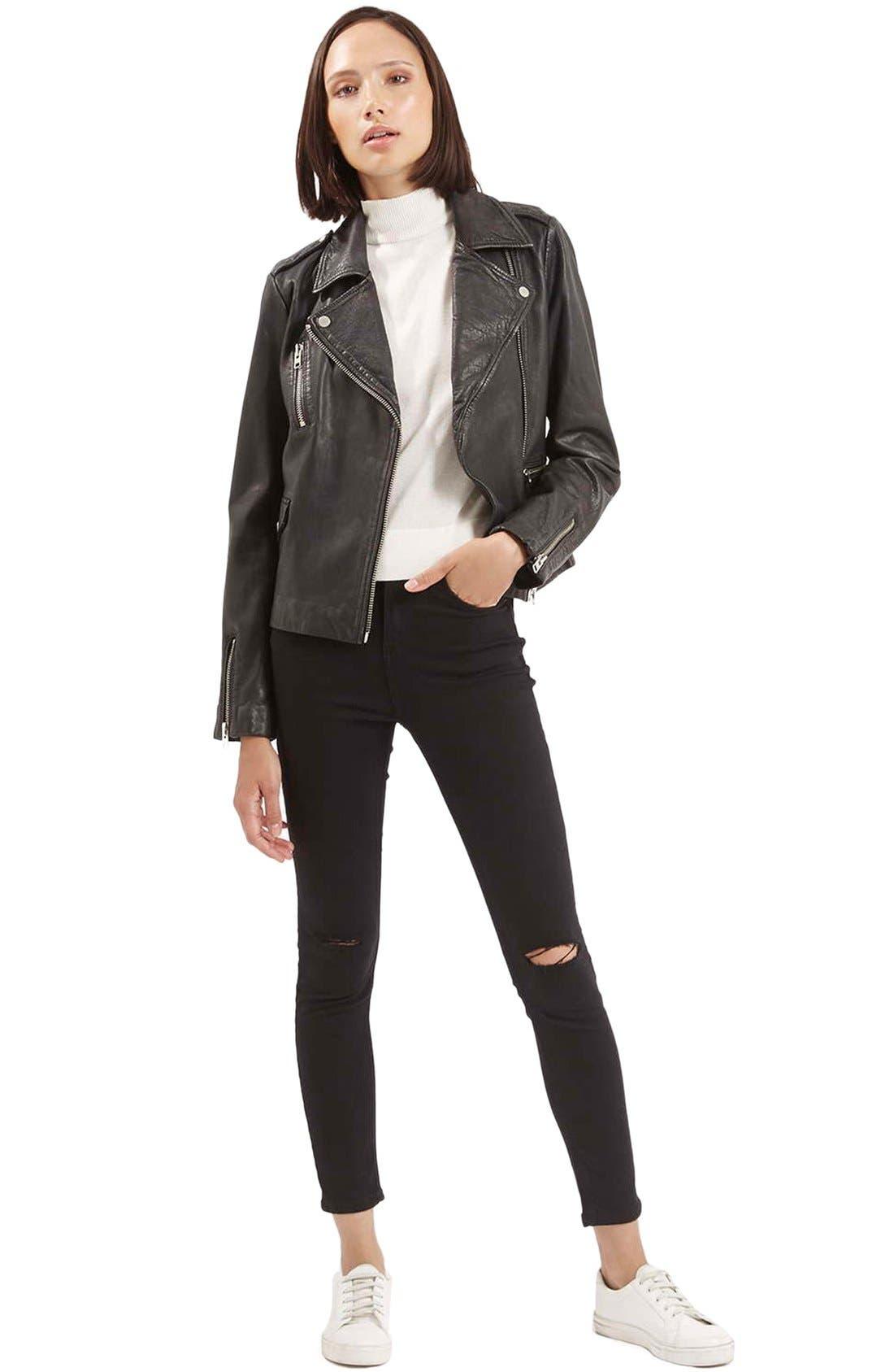 Alternate Image 2  - Topshop Moto 'Jamie' Ripped Crop Skinny Jeans (Black)