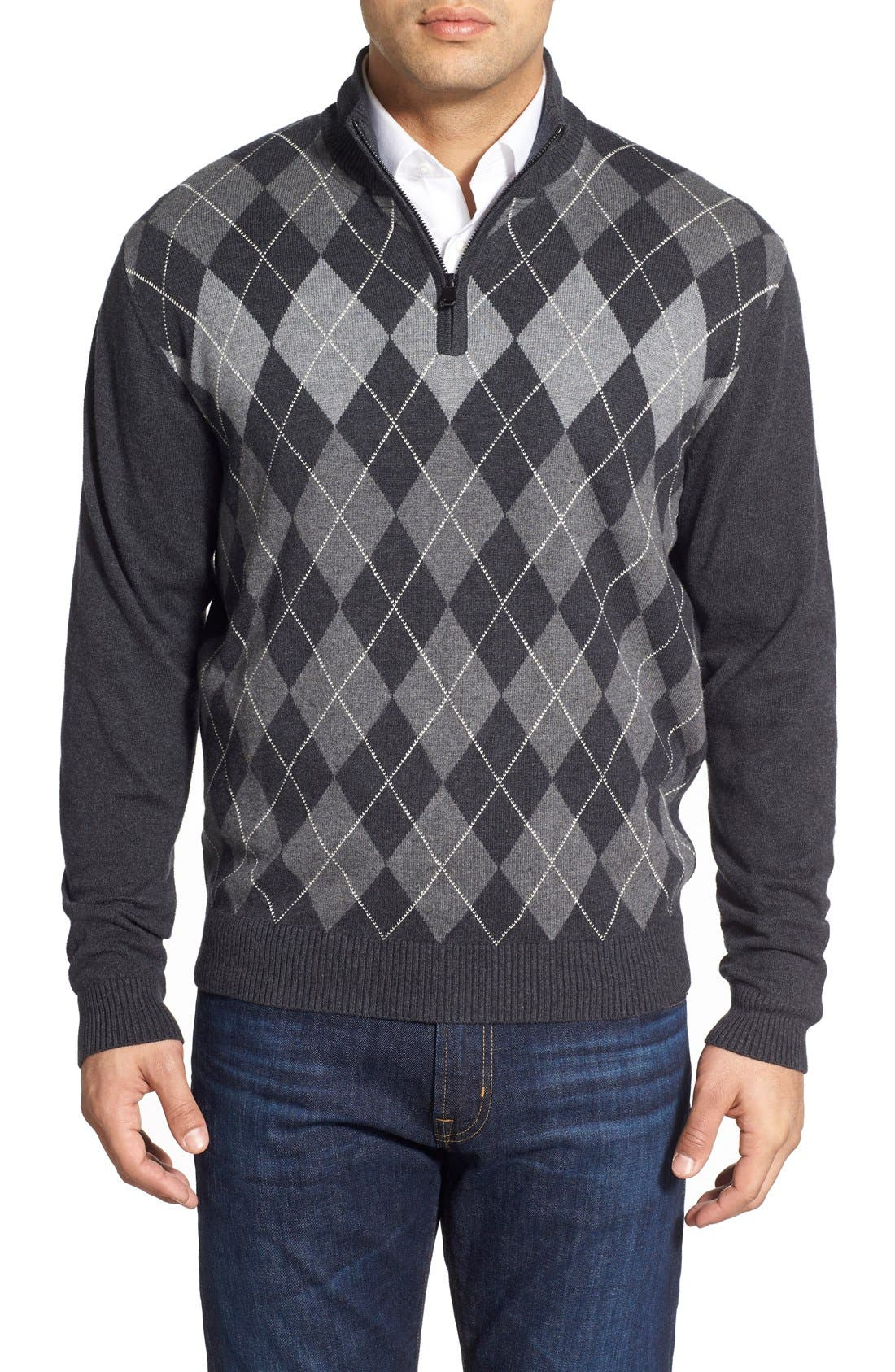 Cutter & Buck 'Blackcomb' Quarter Zip Argyle Knit Pullover