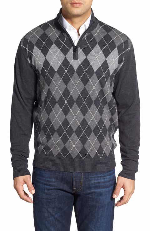 Cutter   Buck 'Blackcomb' Quarter Zip Argyle Knit Pullover