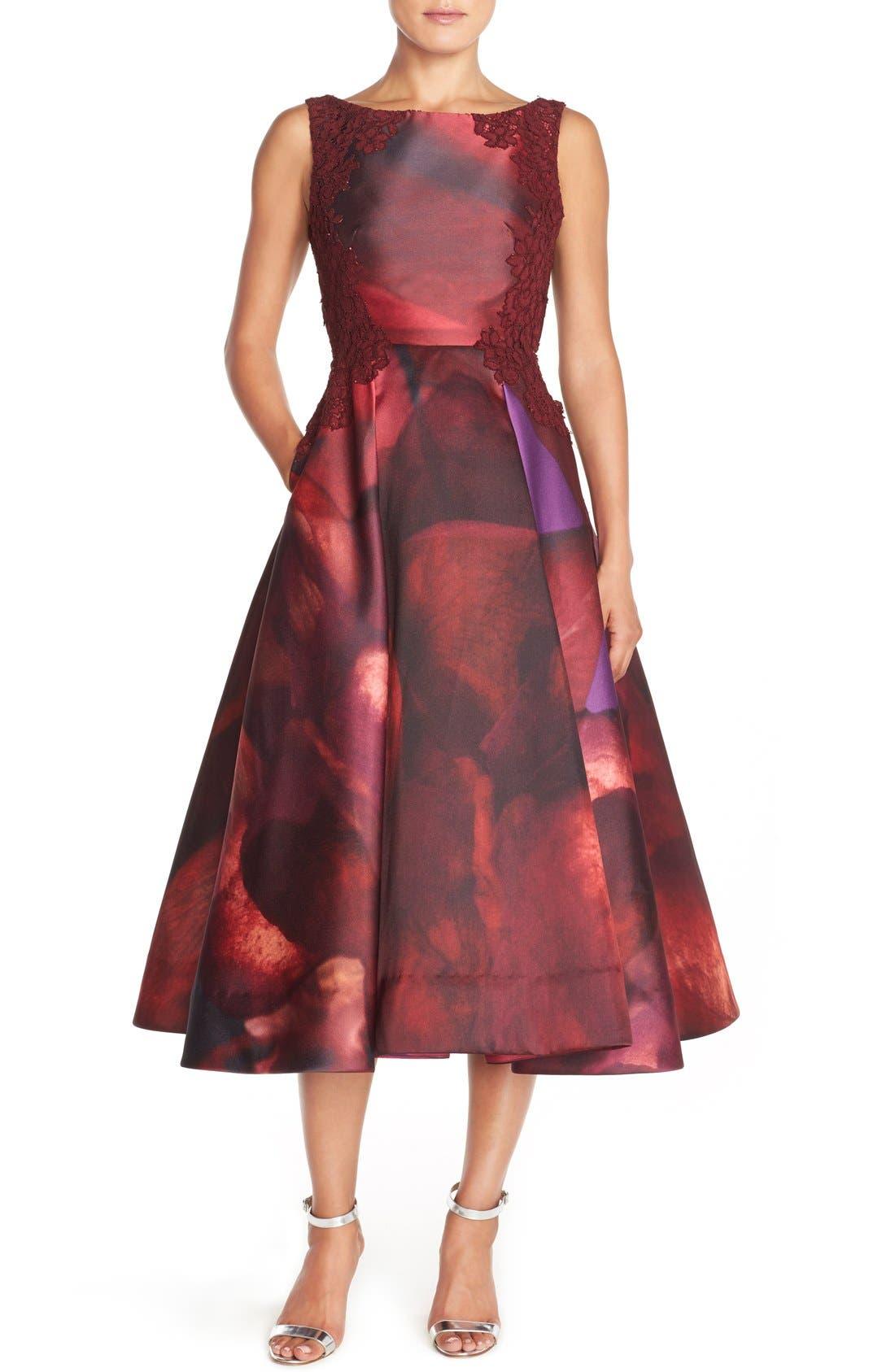 Alternate Image 1 Selected - ML Monique Lhuillier Open Back Mikado Midi Dress