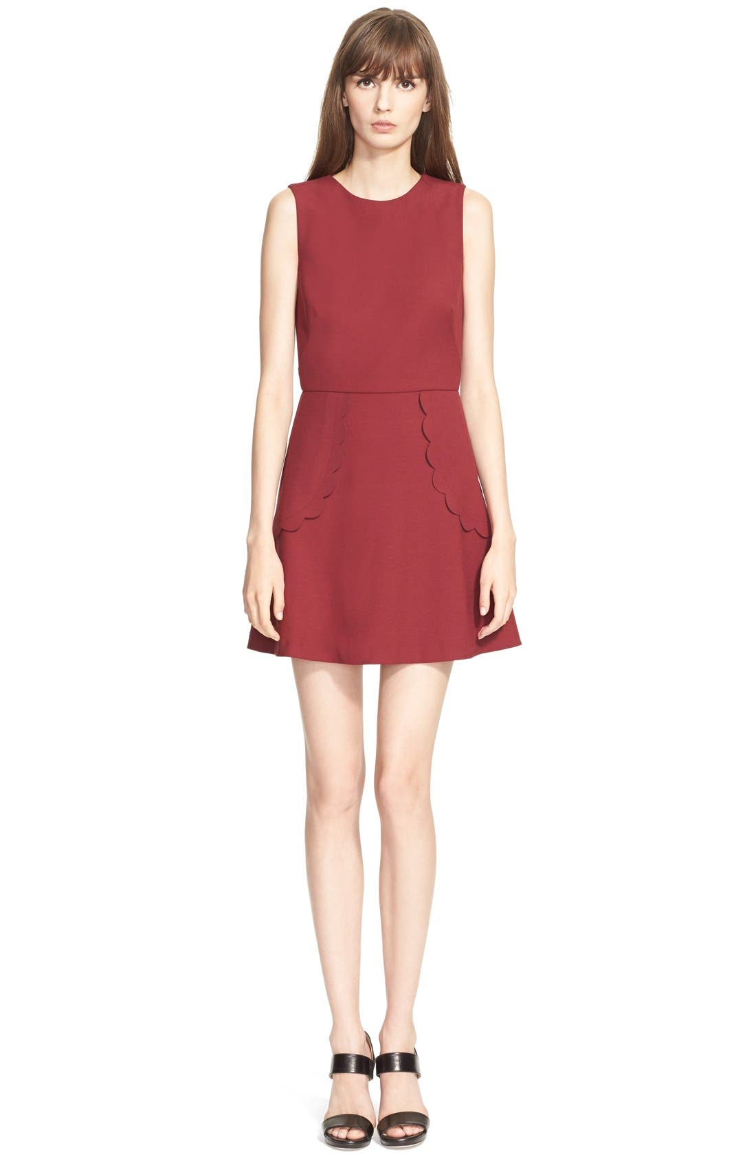 Main Image - RED Valentino Scallop Detail Cady Tech A-Line Dress