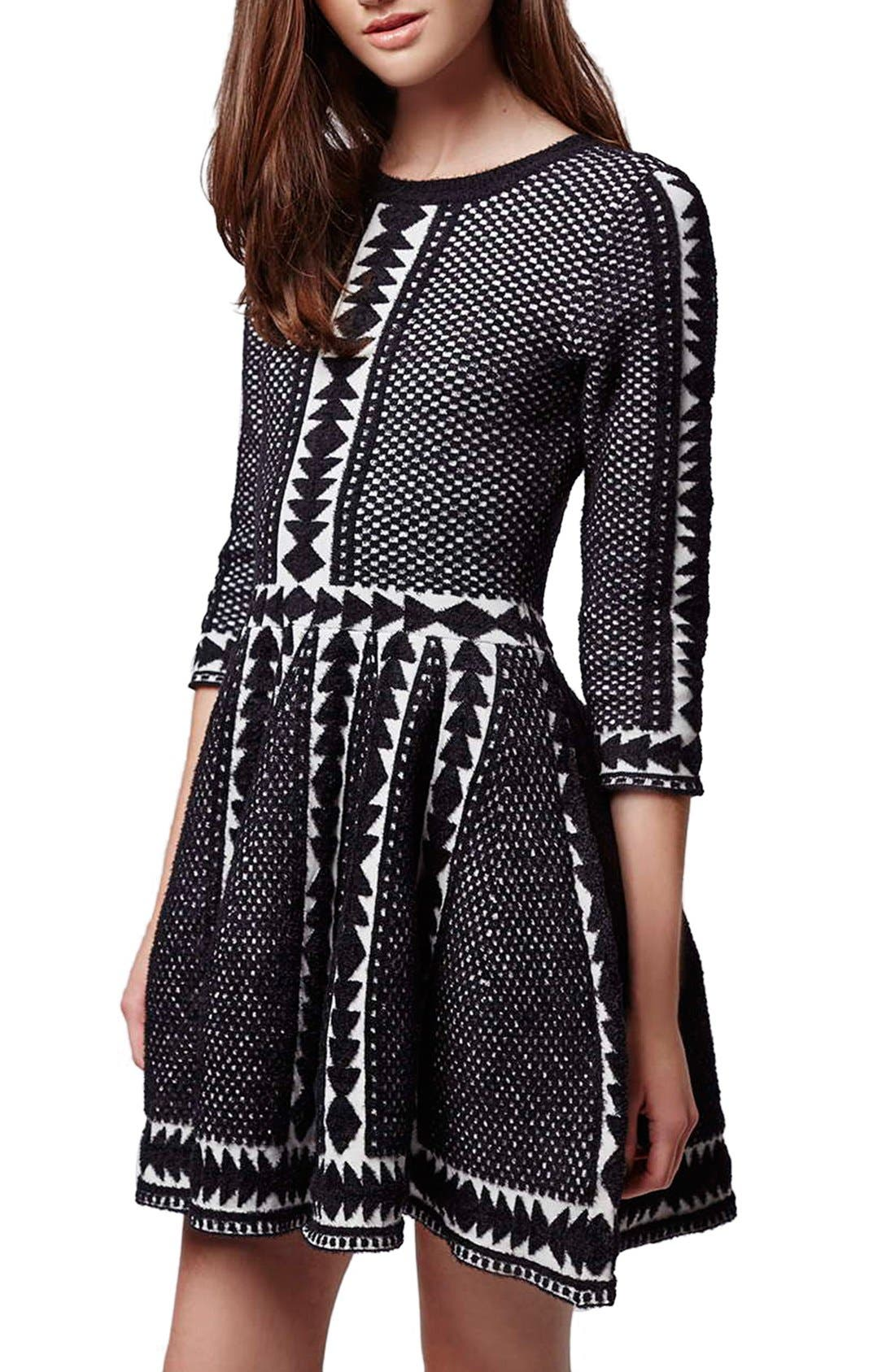 Alternate Image 1 Selected - Topshop 'Premium' Fit & Flare Sweater Dress