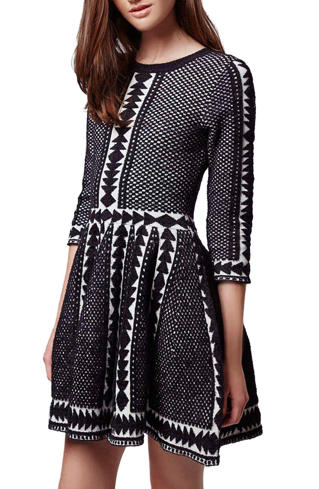 Main Image - Topshop 'Premium' Fit & Flare Sweater Dress
