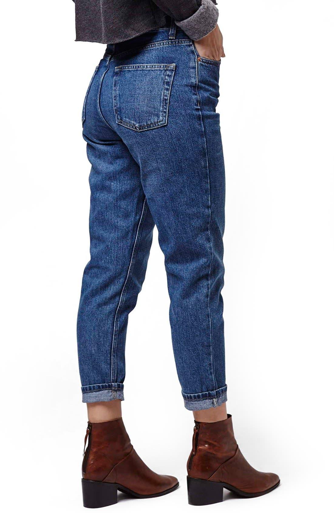 Alternate Image 3  - Topshop Moto High Rise Crop Jeans (Dark Denim) (Petite)