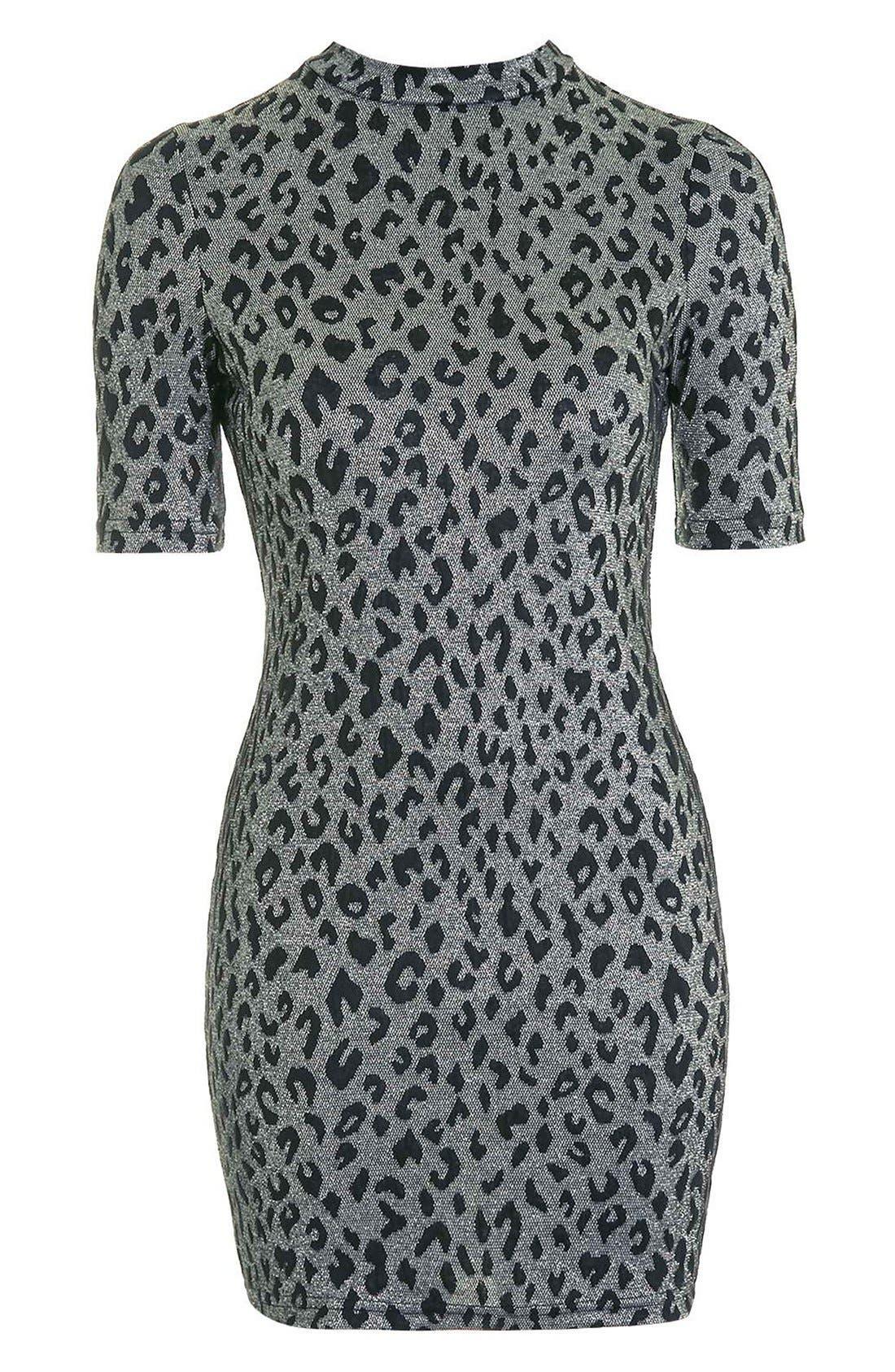 Alternate Image 4  - Topshop Jacquard Leopard Body-Con Dress (Regular & Petite)
