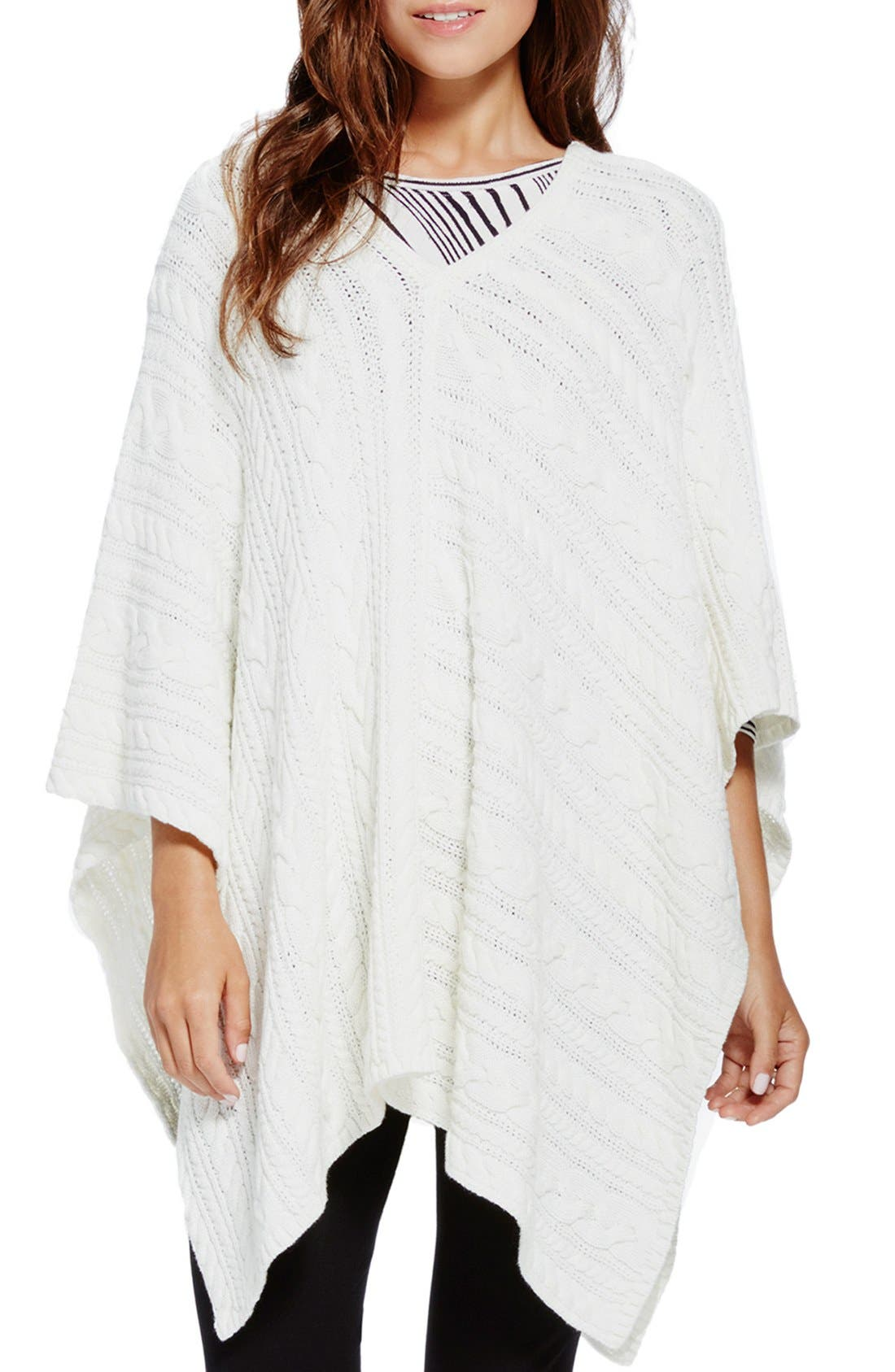 Alternate Image 1 Selected - Two by Vince Camuto Cable Knit V-Neck Poncho