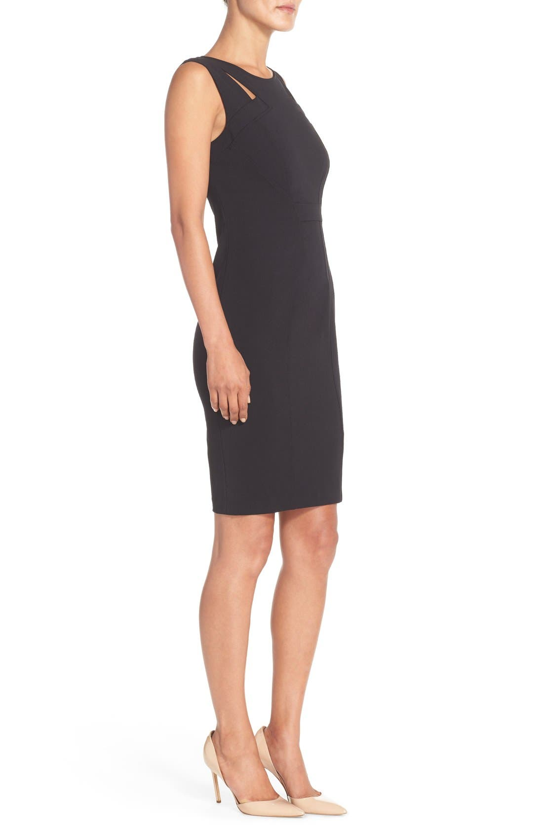 Alternate Image 3  - NYDJ Cutout Shoulder Crepe Sheath Dress