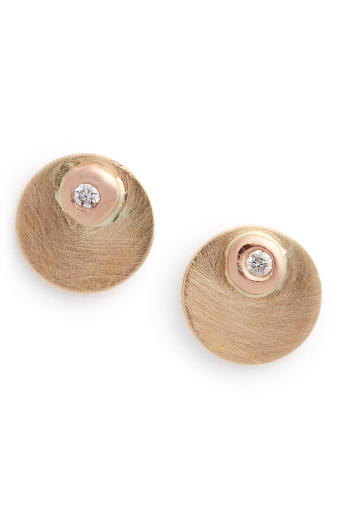 Melissa Joy Manning Diamond Disc Stud Earrings