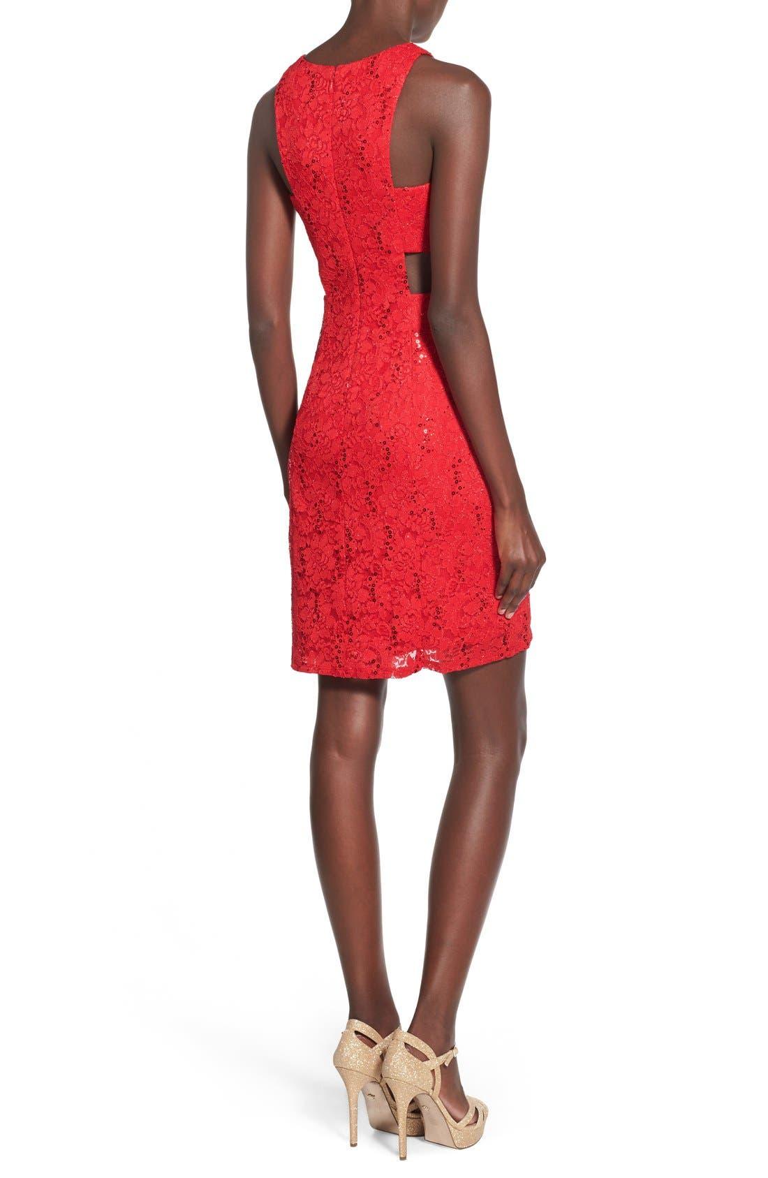 Alternate Image 2  - Morgan & Co. Side Cutout Sequin Lace Dress