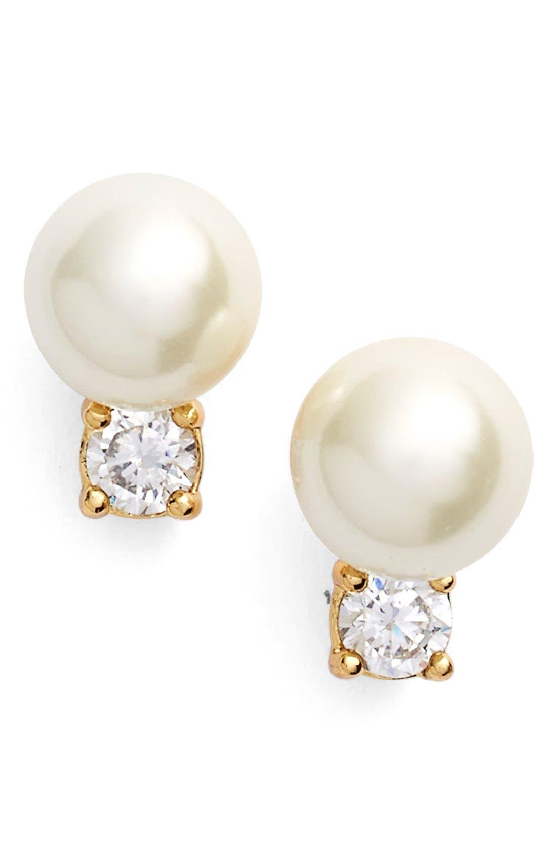 Alternate Image 1 Selected - kate spade new york pearls of wisdon imitation pearl stud earrings
