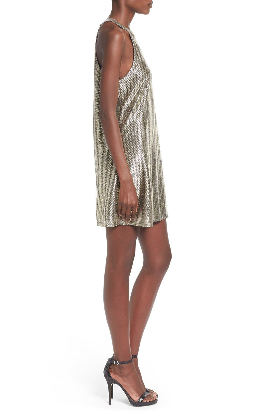 Alternate Image 3  - One Clothing Metallic Halter Swing Dress