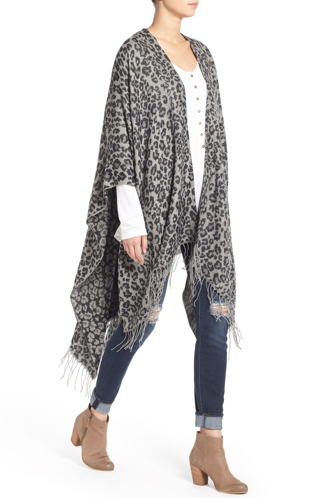Alternate Image 4  - Capelli of New York Leopard Print Knit Cape
