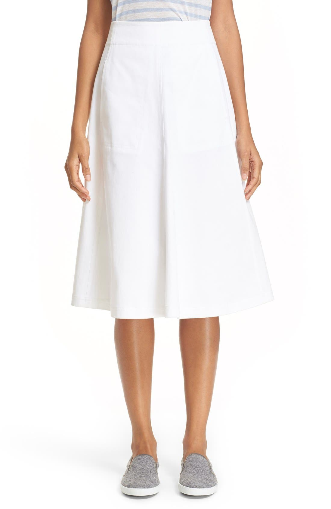 t by wang stretch cotton a line midi skirt