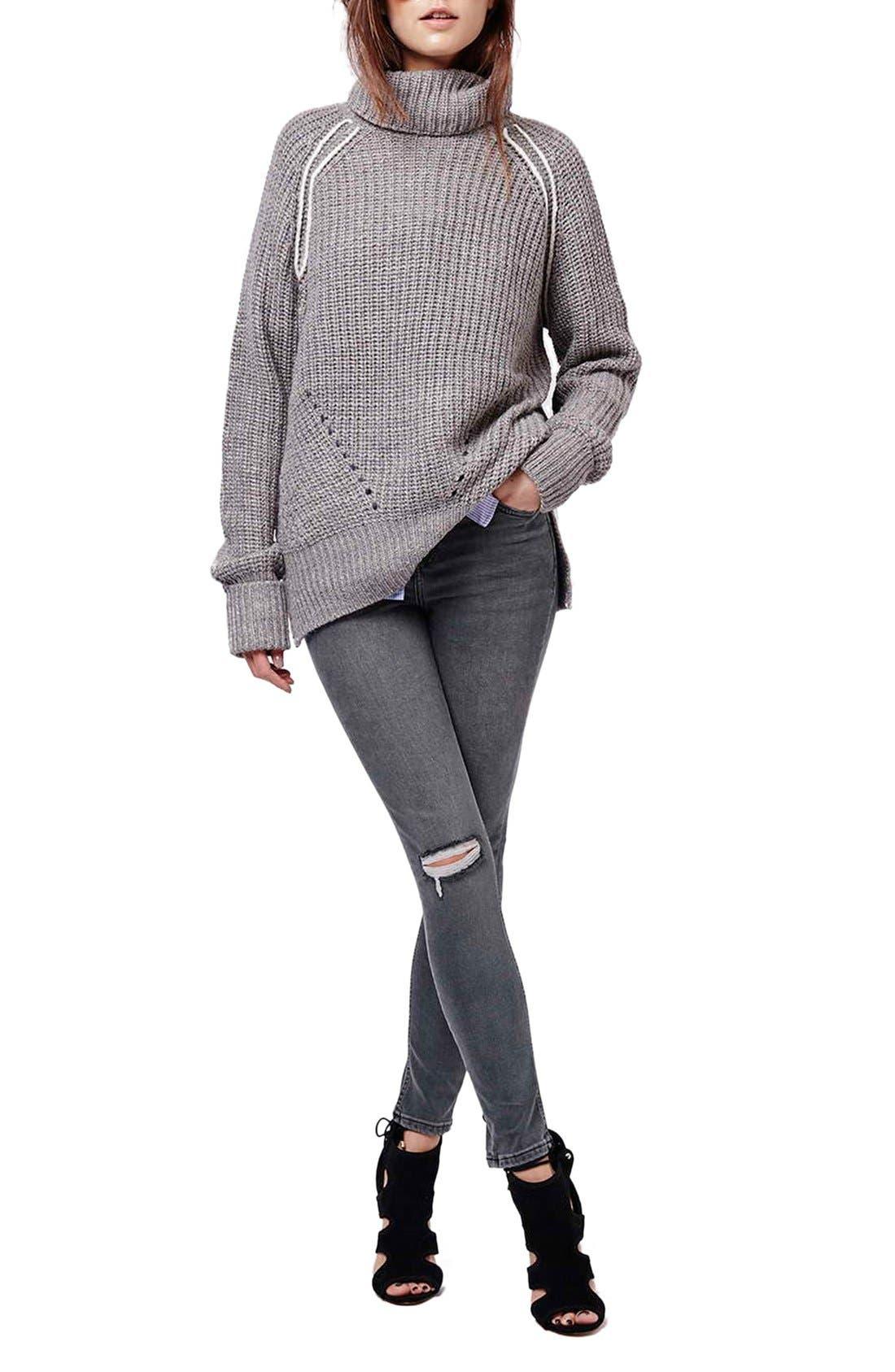 Alternate Image 2  - Topshop 'Jamie' Ripped Skinny Jeans (Grey)