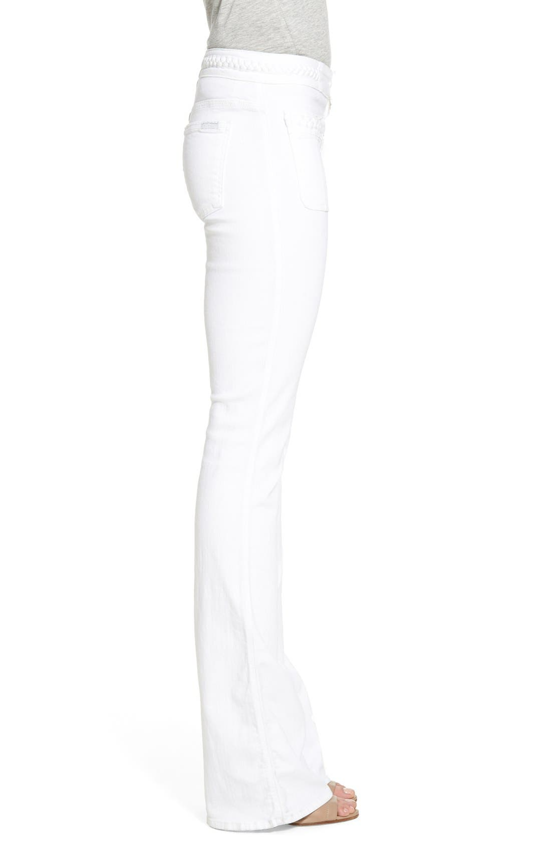 Alternate Image 3  - 7 For All Mankind® High Rise Braided Trim Flare Jeans (White Fashion)