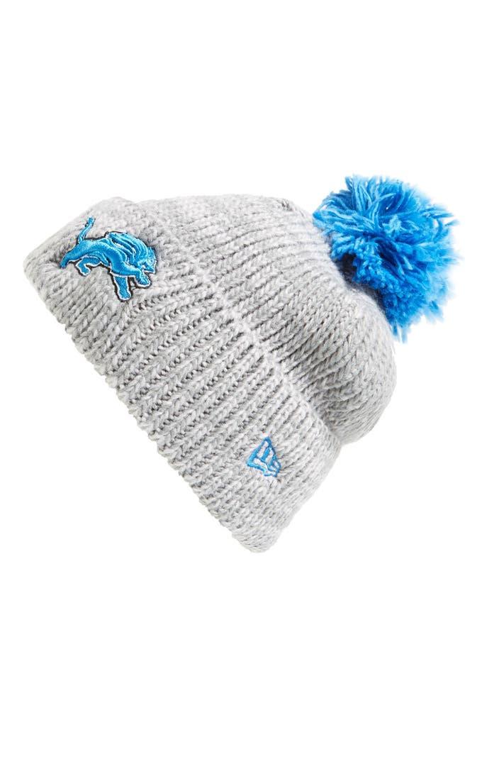 New Era Cap Cuff Star Detroit Lions Pompom Knit Beanie