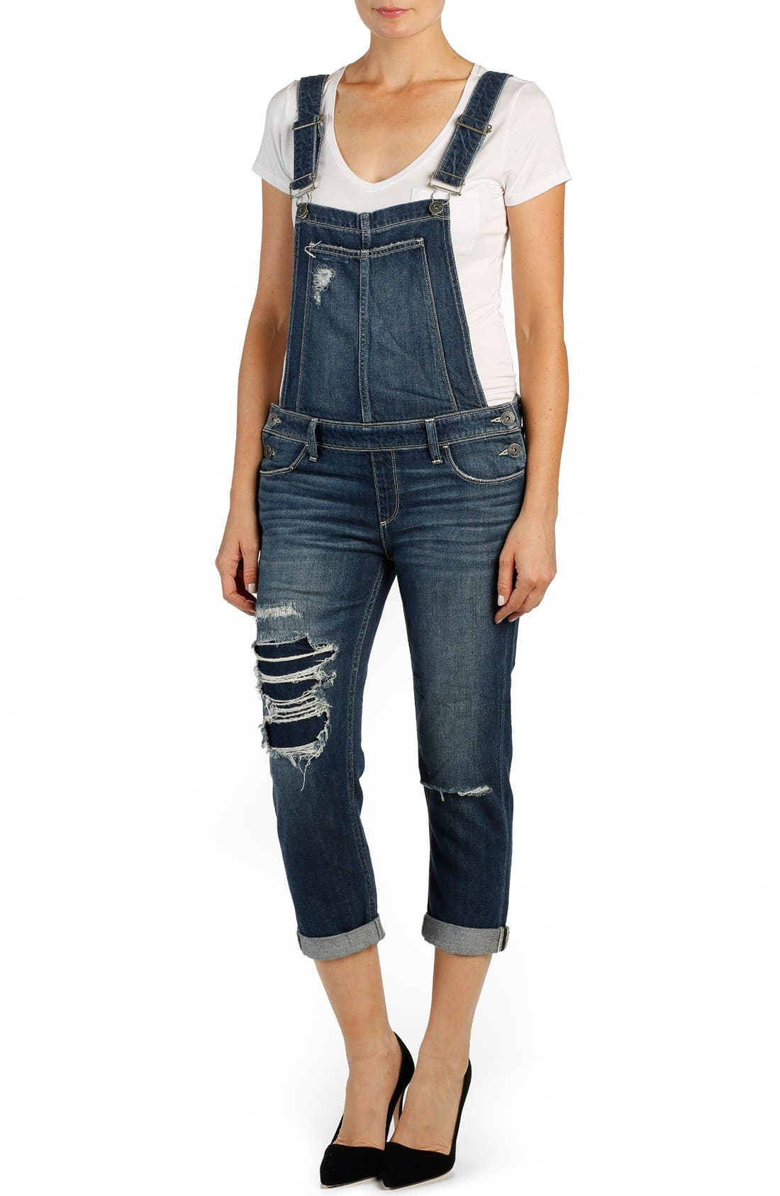 Alternate Image 1 Selected - PAIGE 'Sierra' Distressed Crop Overalls (William)
