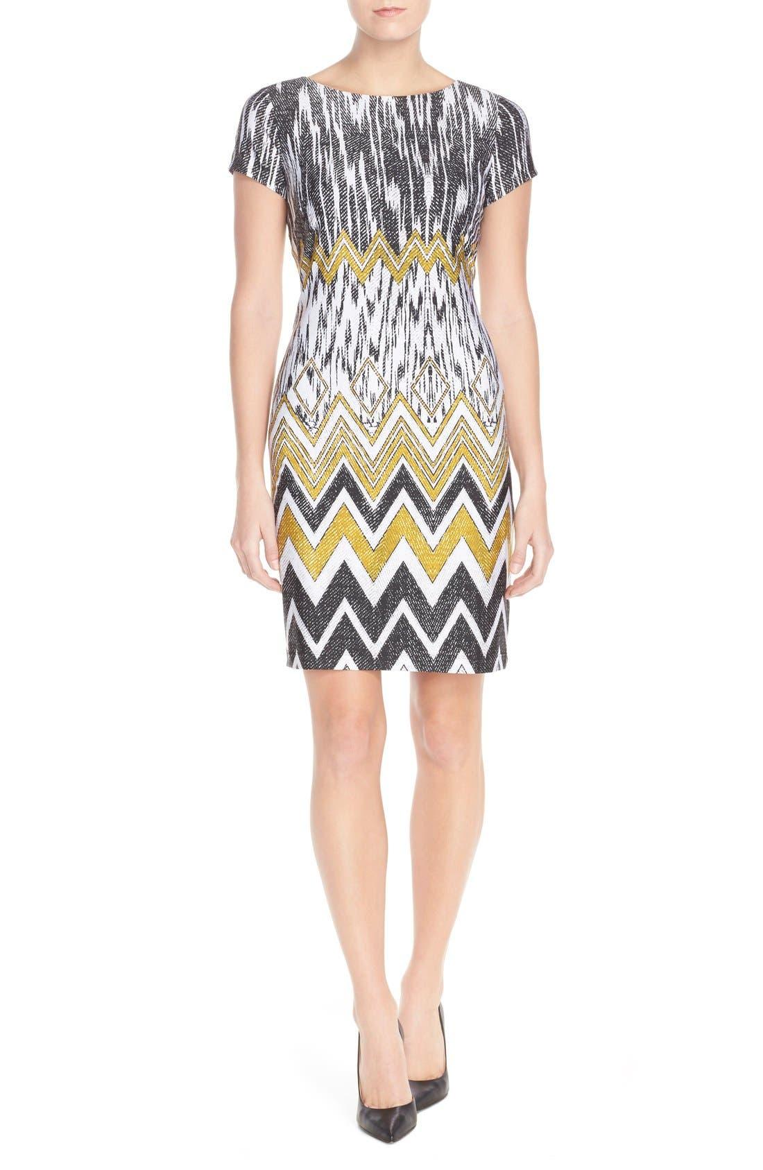 Main Image - Ellen Tracy Chevron Print Jersey Sheath Dress