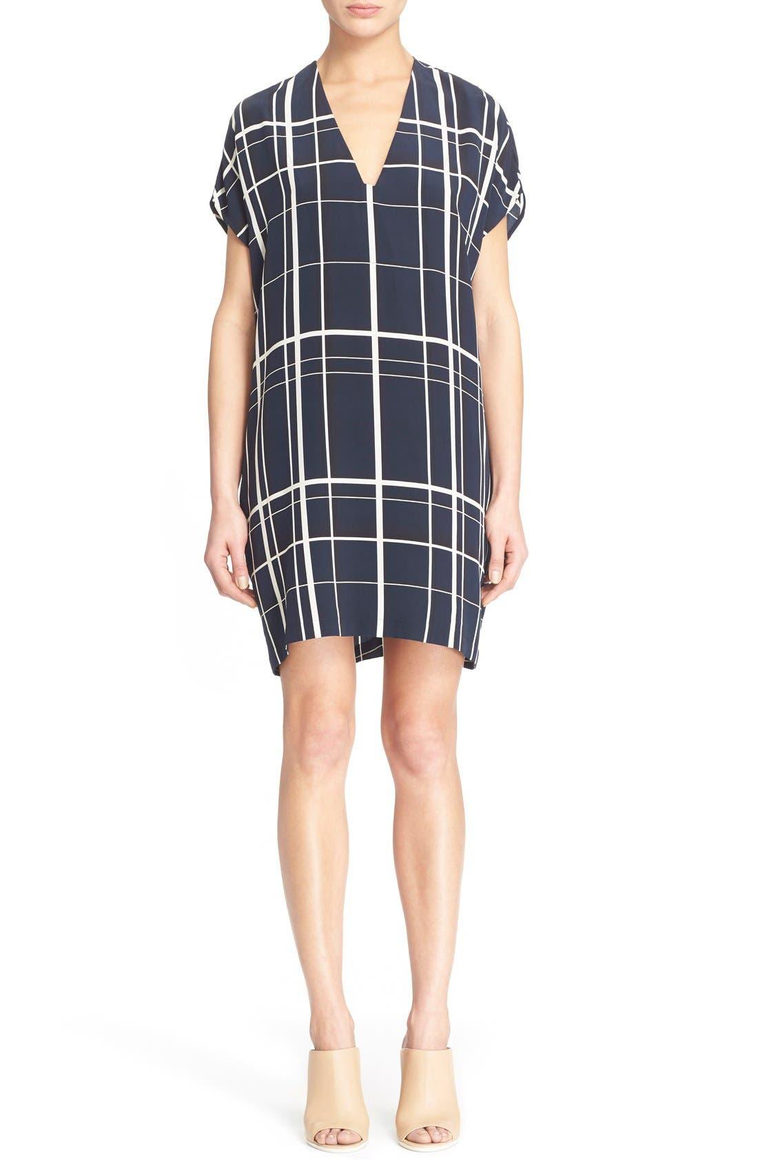 Alternate Image 1 Selected - Vince Lattice Print Silk Shift Dress