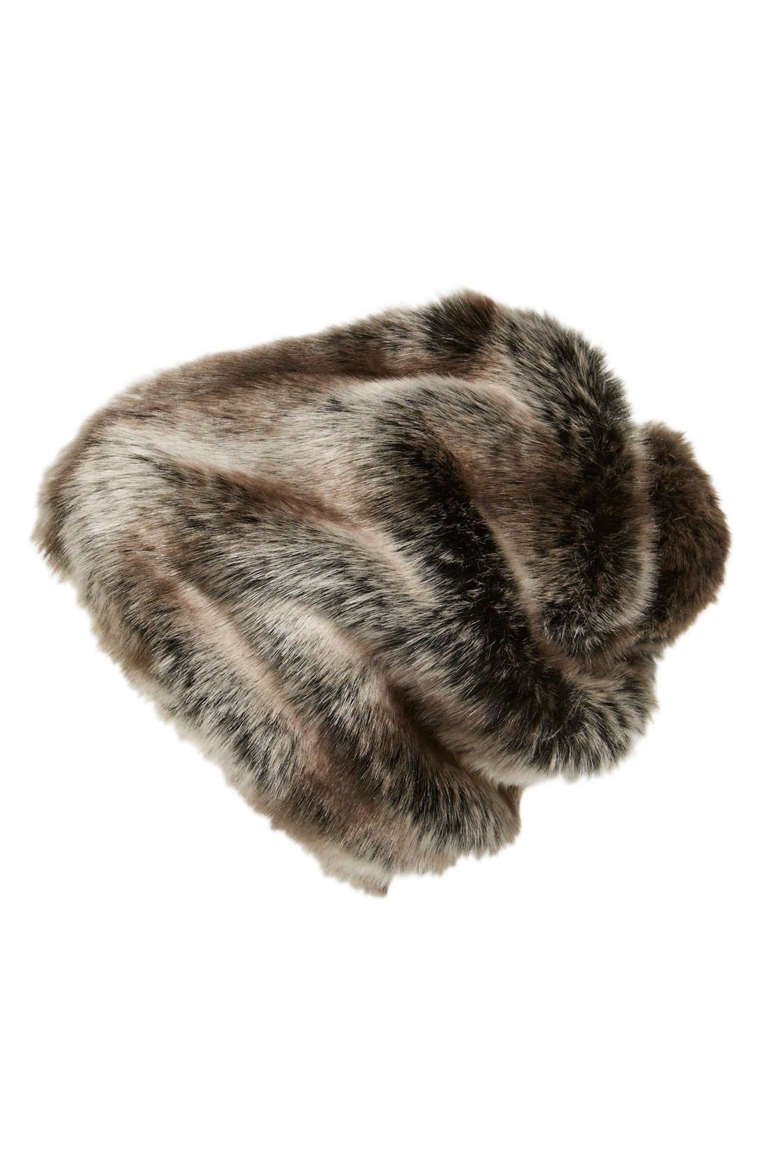 Alternate Image 1 Selected - Parkhurst Slouchy Faux Fur Beanie with Pompom