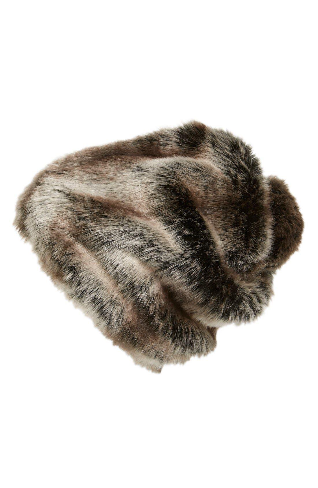 Main Image - Parkhurst Slouchy Faux Fur Beanie with Pompom