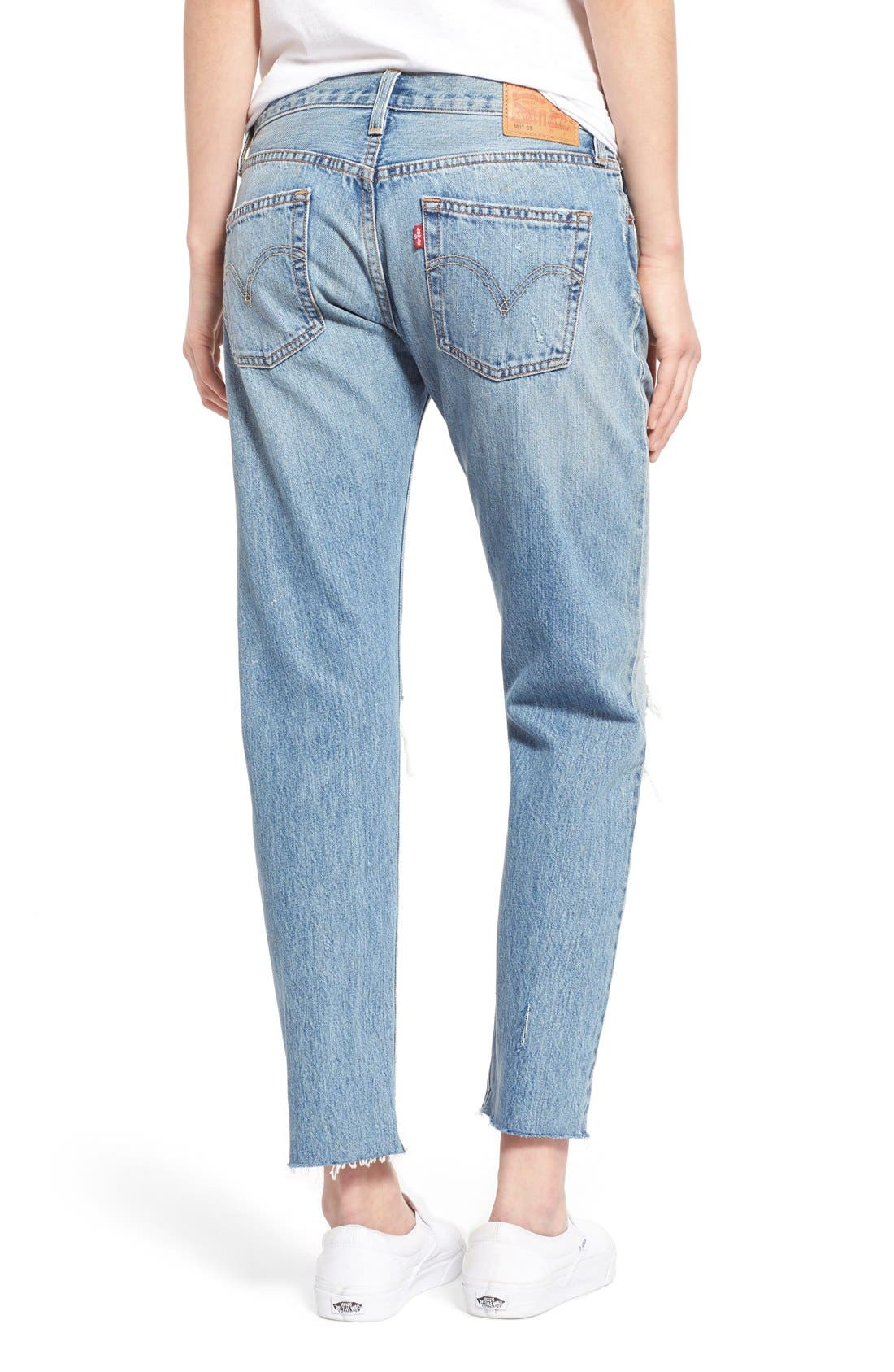 Alternate Image 2  - Levi's® '501 CT' Crop Distressed Boyfriend Jeans (Time Gone By)