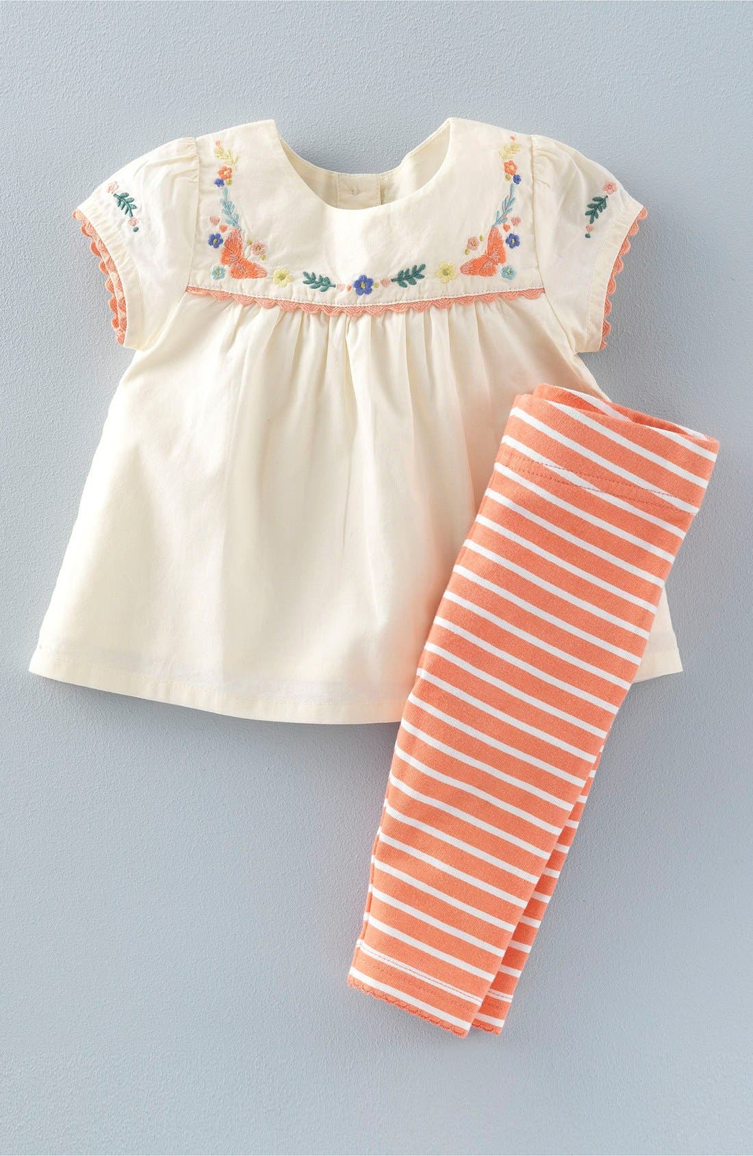 Mini Boden Embroidered Top & Stripe Leggings Set Baby