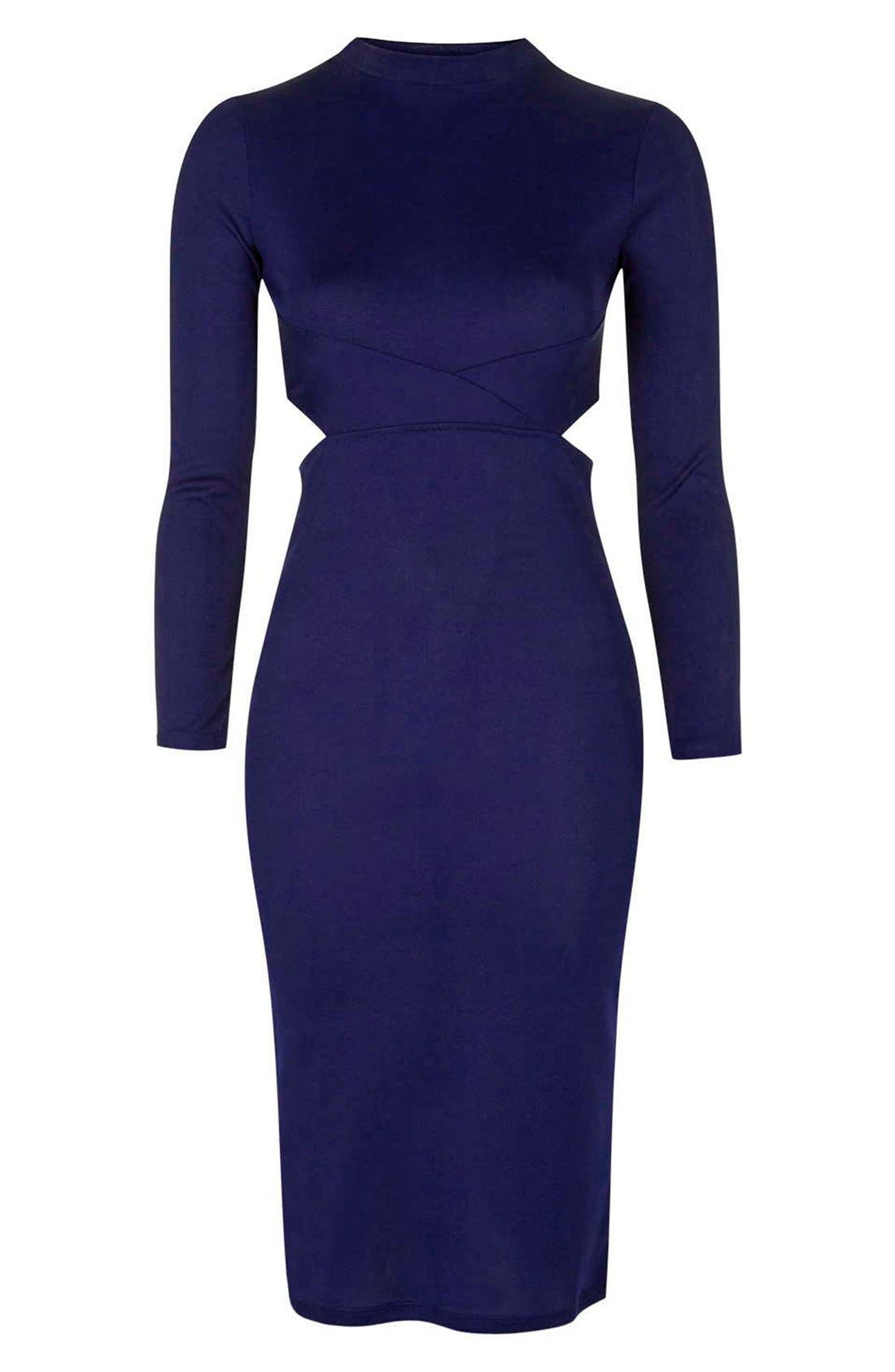 Alternate Image 4  - Topshop Paneled Long Sleeve Midi Dress