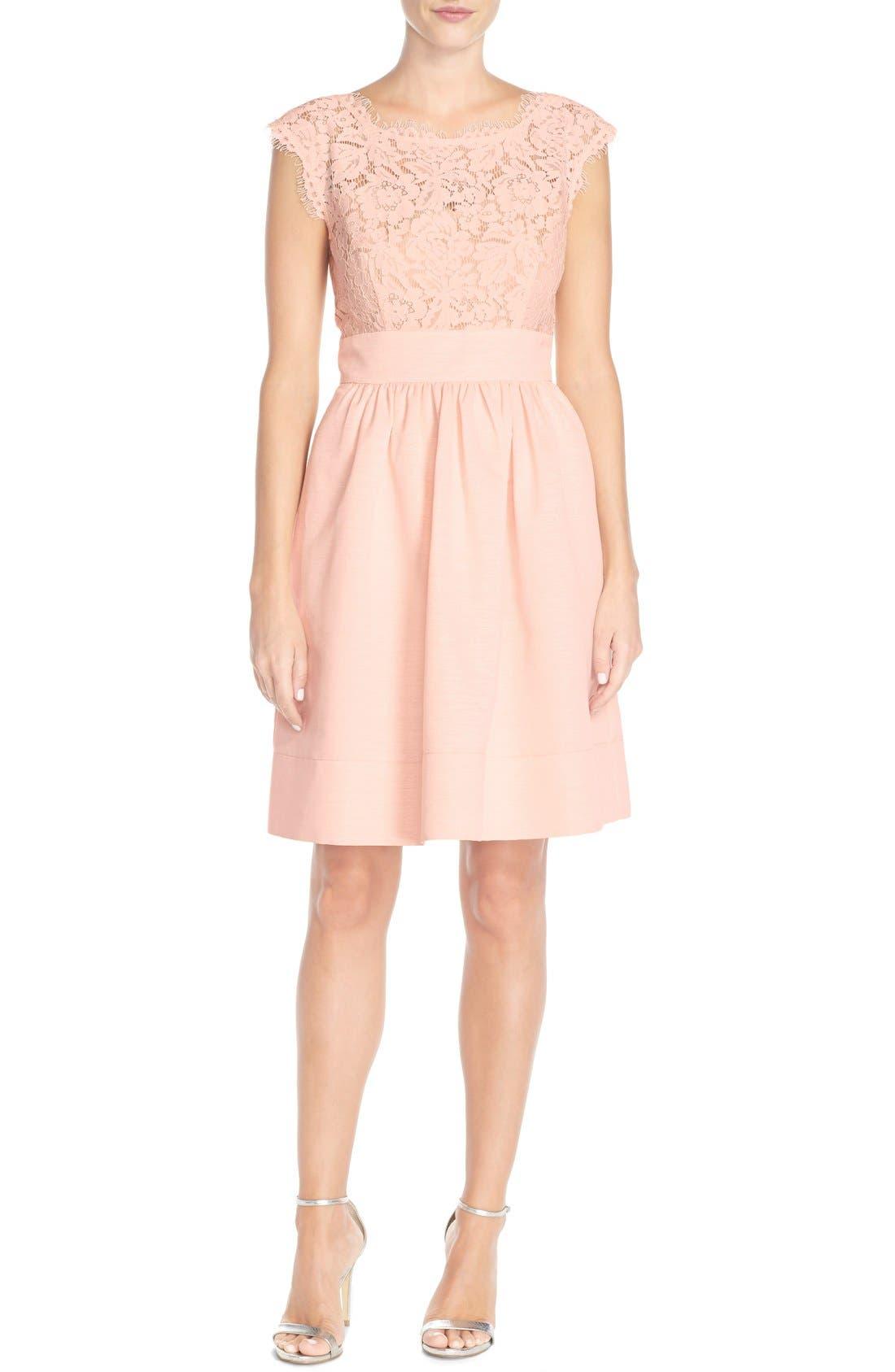 Alternate Image 4  - Eliza J Lace & Faille Dress (Regular & Petite)