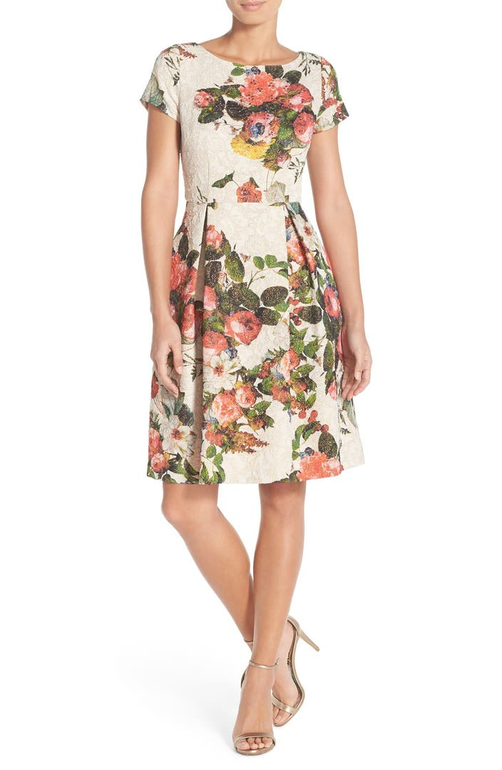 Adrianna Papell Floral Matelass 233 Fit Amp Flare Dress