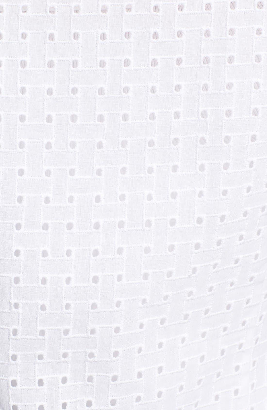 Alternate Image 5  - Foxcroft Basket Weave Eyelet Sleeveless Shirt