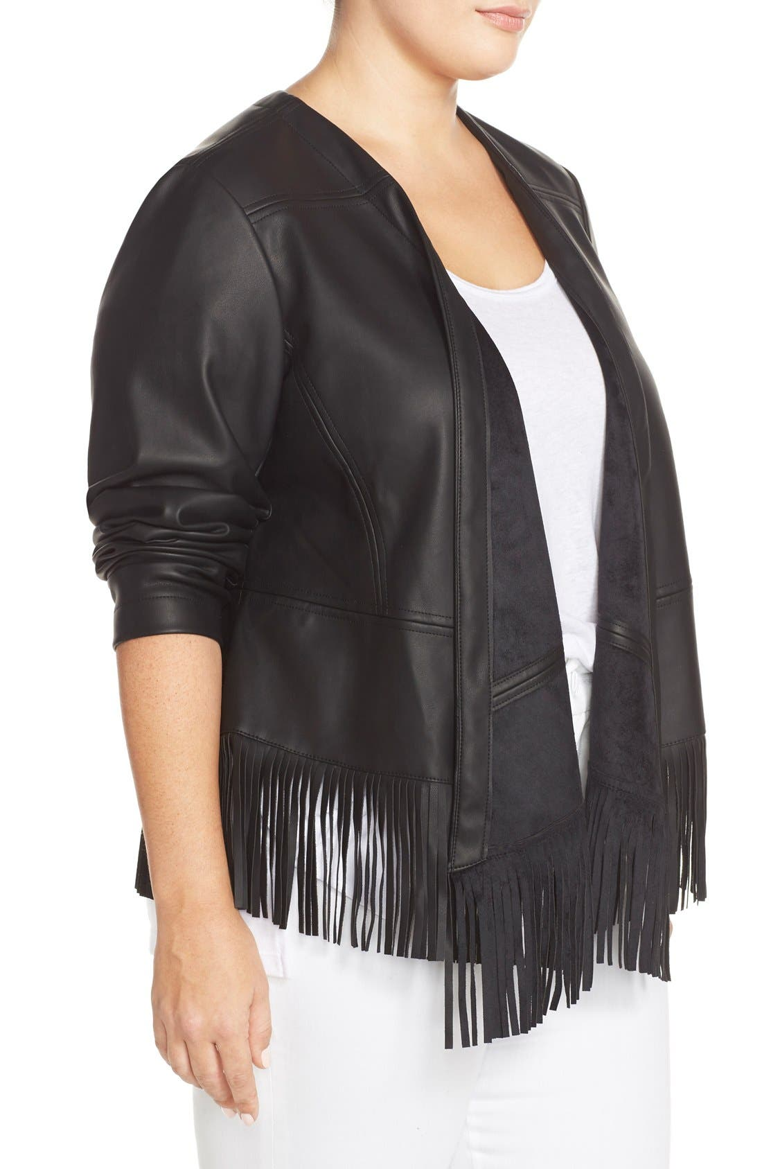 Alternate Image 3  - Bernardo Fringe Faux Leather Jacket (Plus Size)
