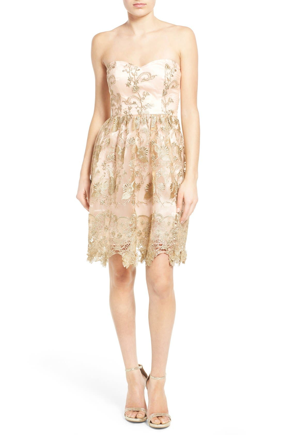 Main Image - a. drea Embroidered Lace Strapless Dress