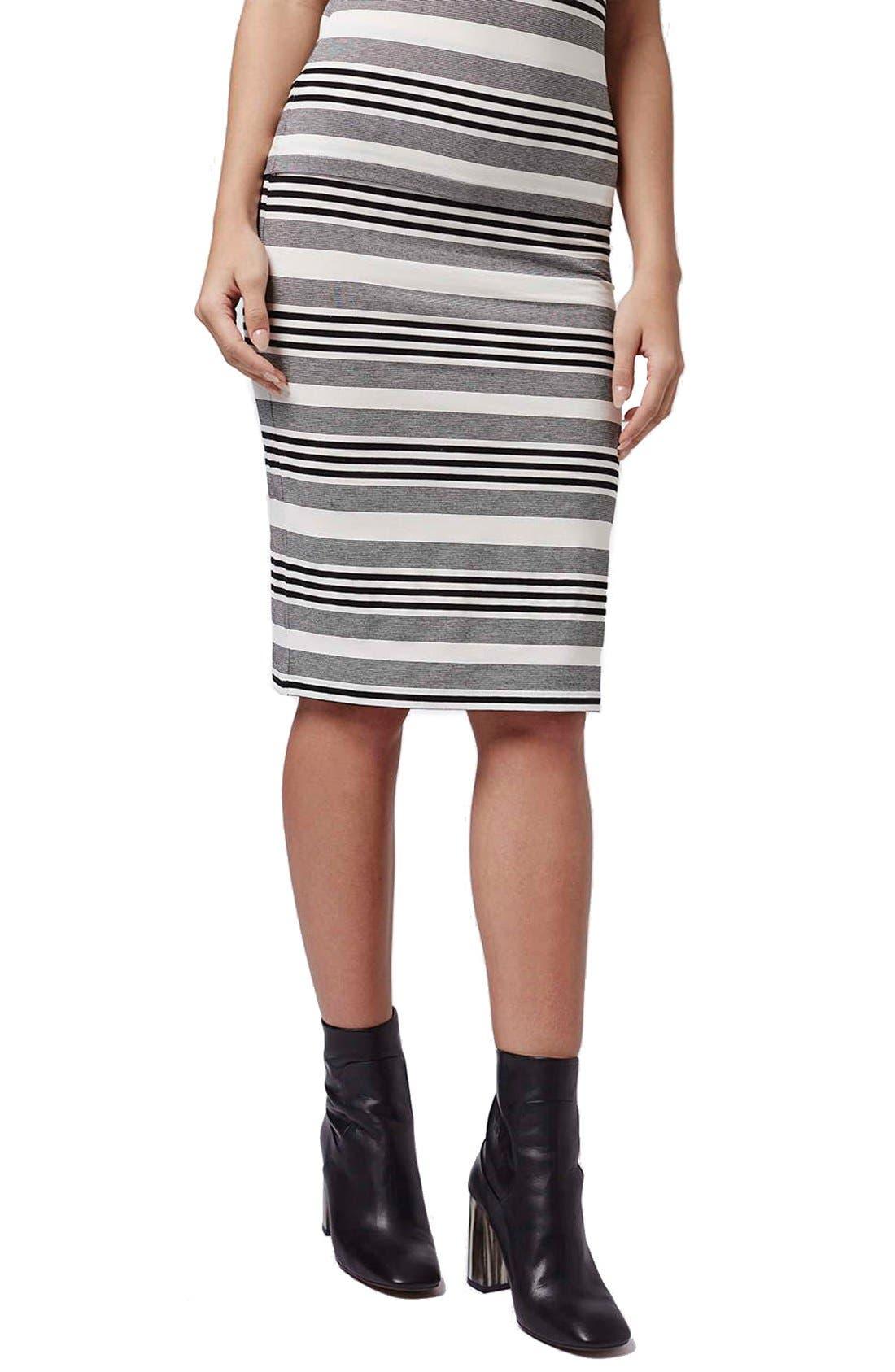 Main Image - Topshop Stripe Jersey Tube Skirt (Petite)