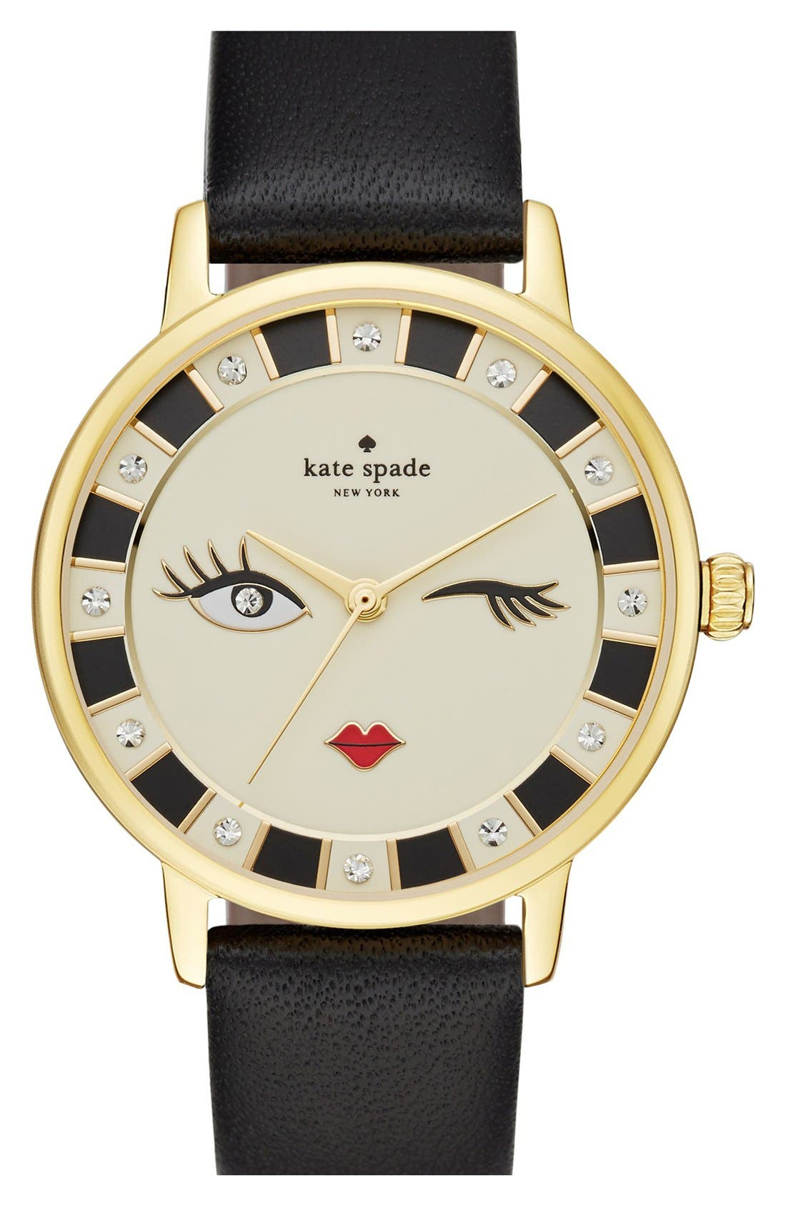 Main Image - kate spade new york 'metro - kiss' leather strap watch, 34mm