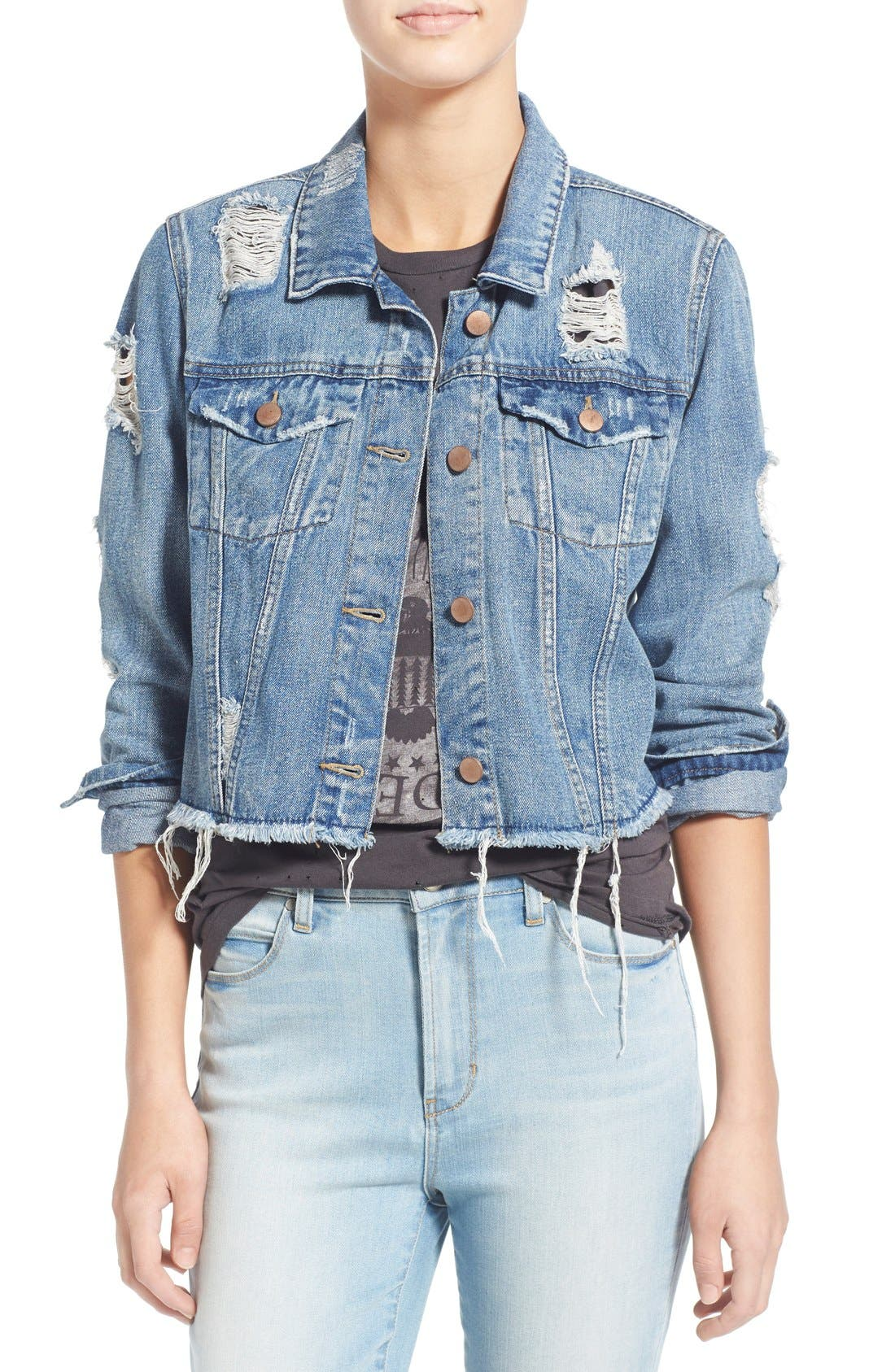 Alternate Image 1 Selected - Love, Fire Distressed Denim Jacket