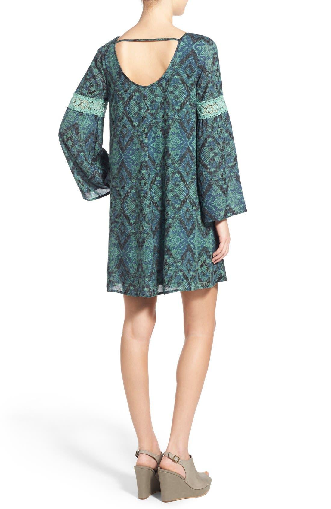 Alternate Image 2  - Sun & Shadow Print Bell Sleeve Shift Dress