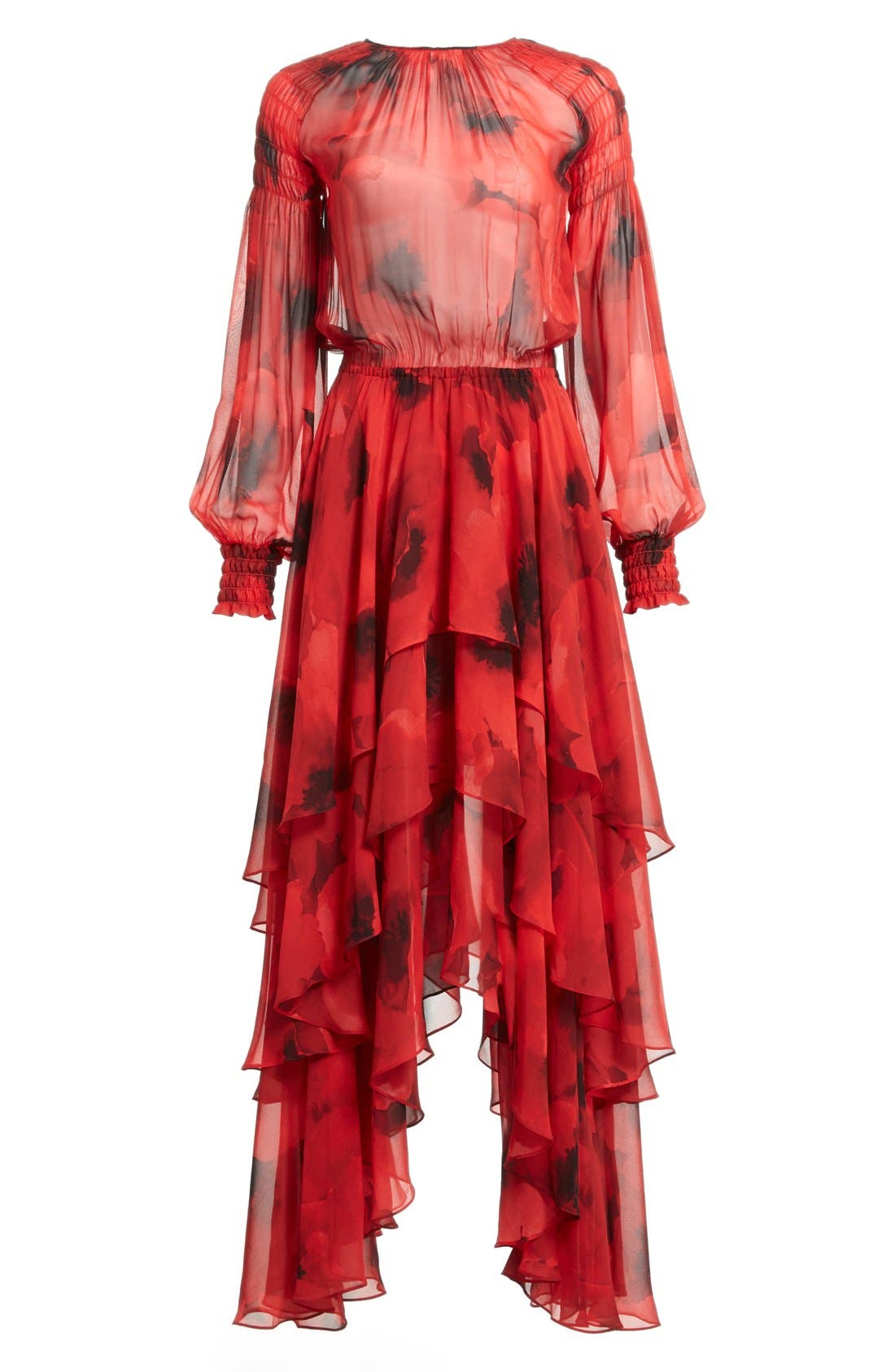 Alternate Image 4  - Michael Kors Poppy Print Tiered Silk Peasant Dress