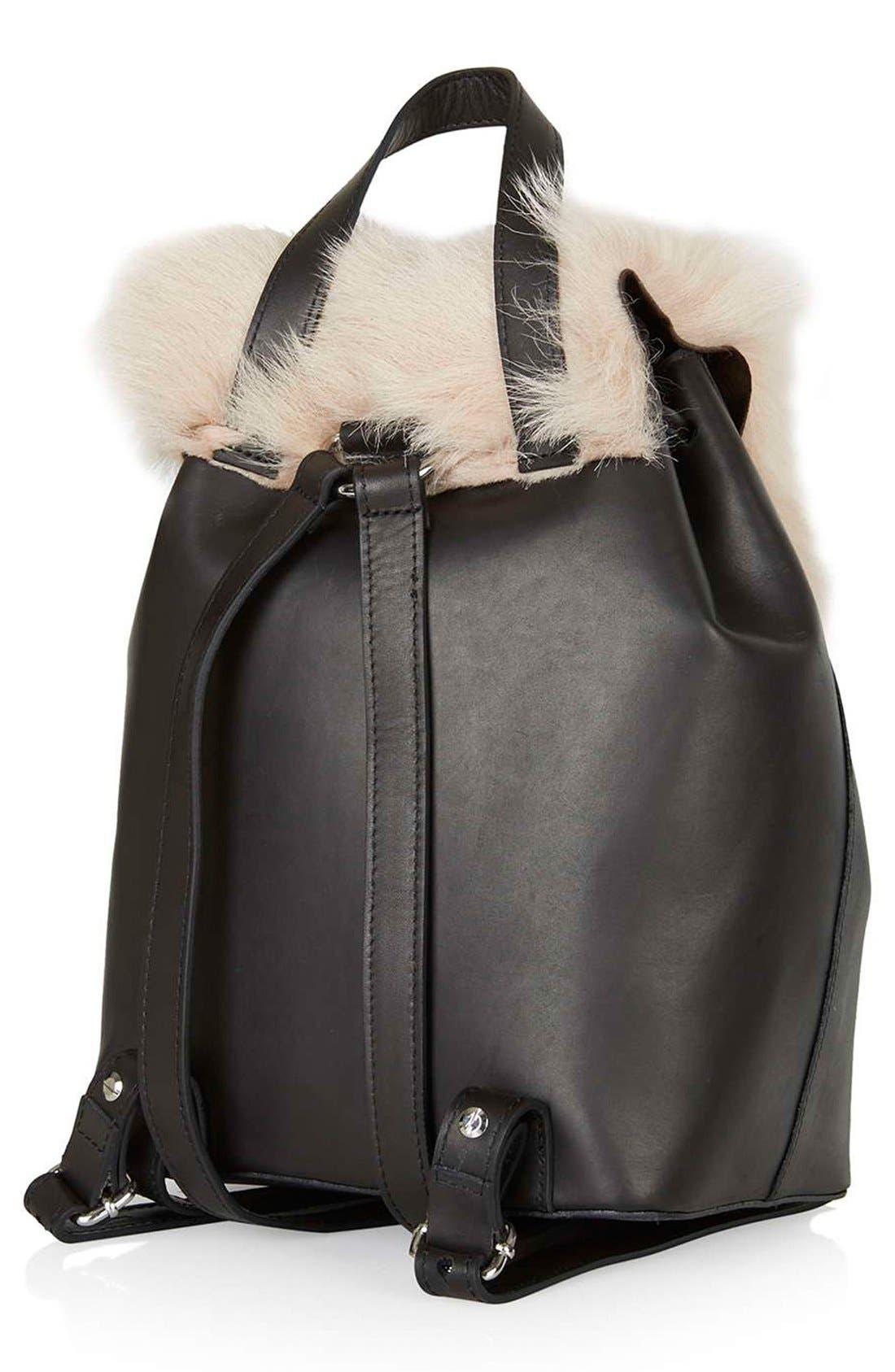 Alternate Image 3  - Topshop Shearling & Leather Backpack