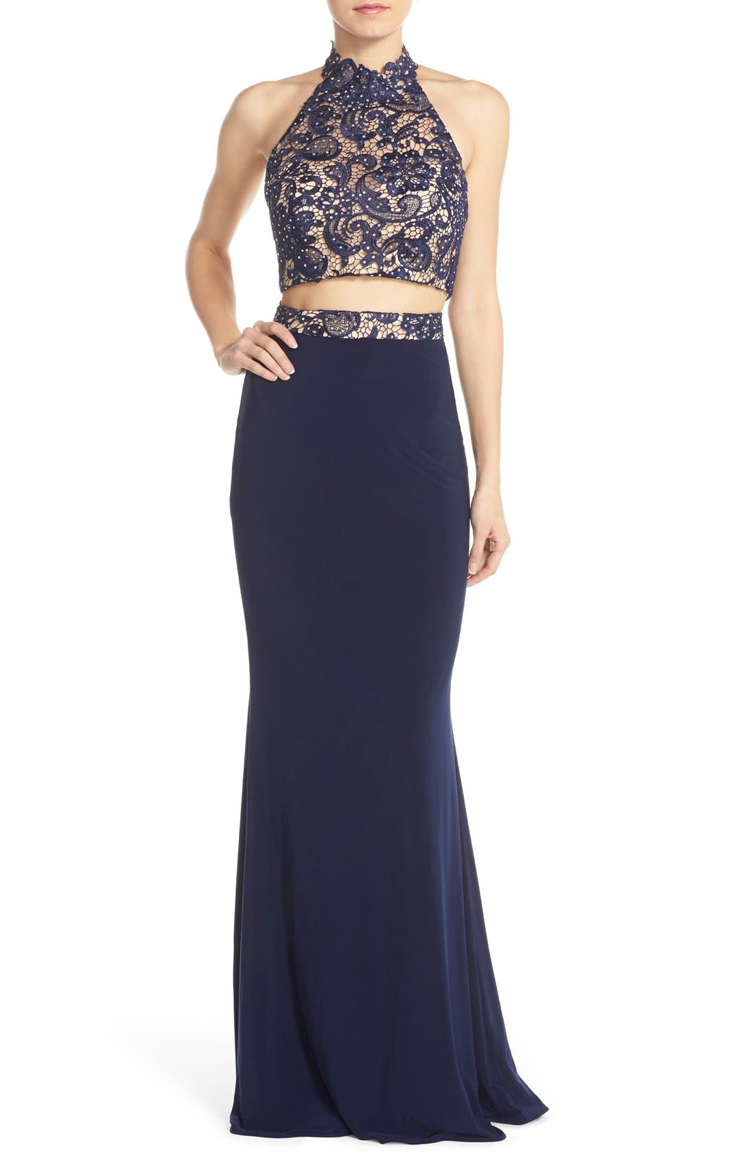 Main Image - Faviana Embellished Jersey Two-Piece Gown