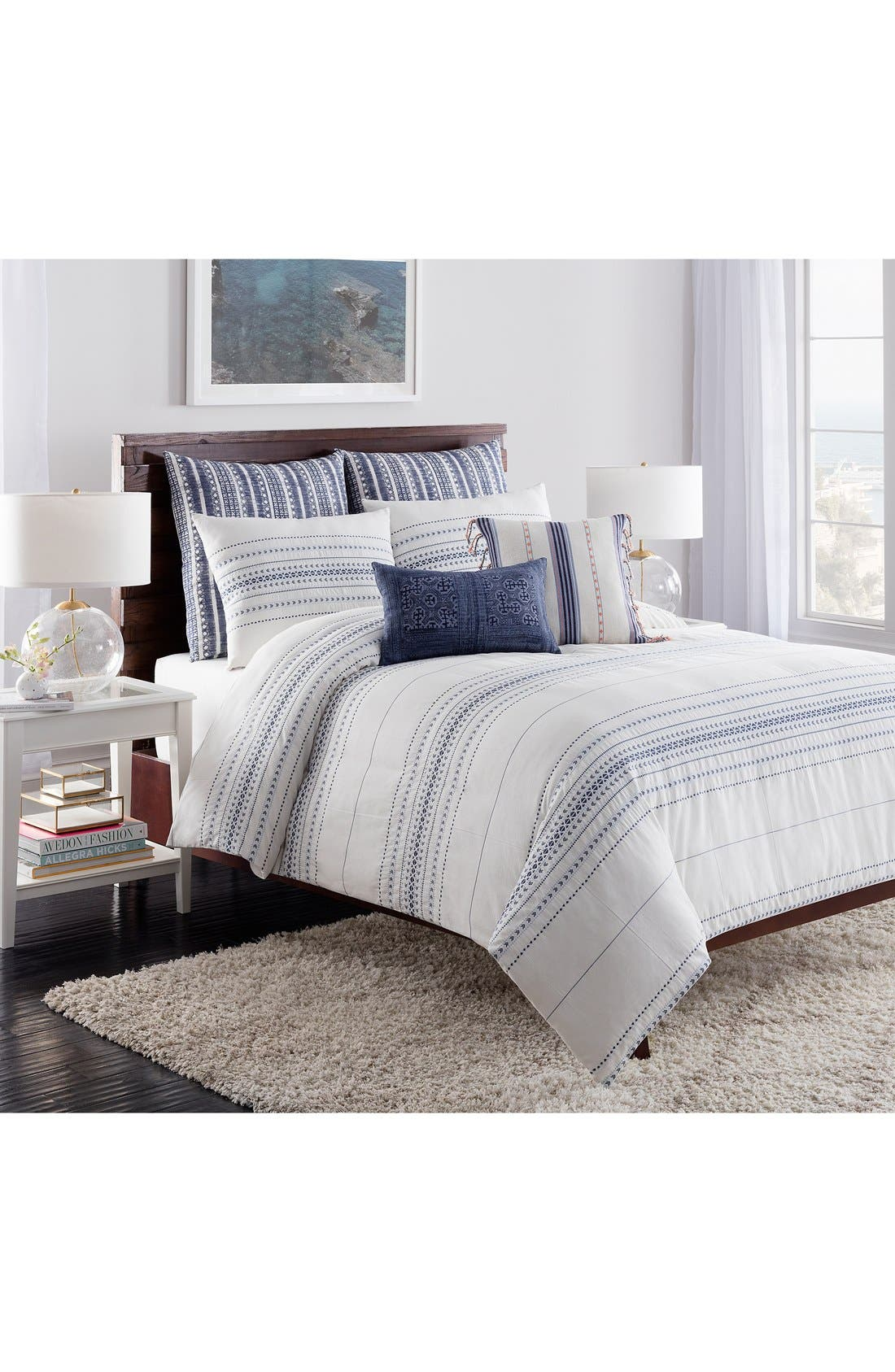 cupcakes and cashmere 'Indigo Stripe' Duvet Cover