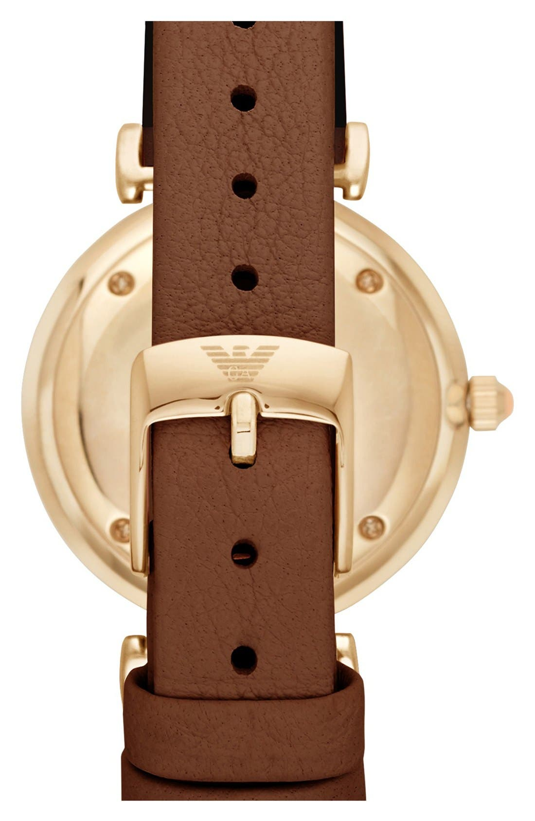 Alternate Image 2  - Emporio Armani Leather Strap Watch, 32mm